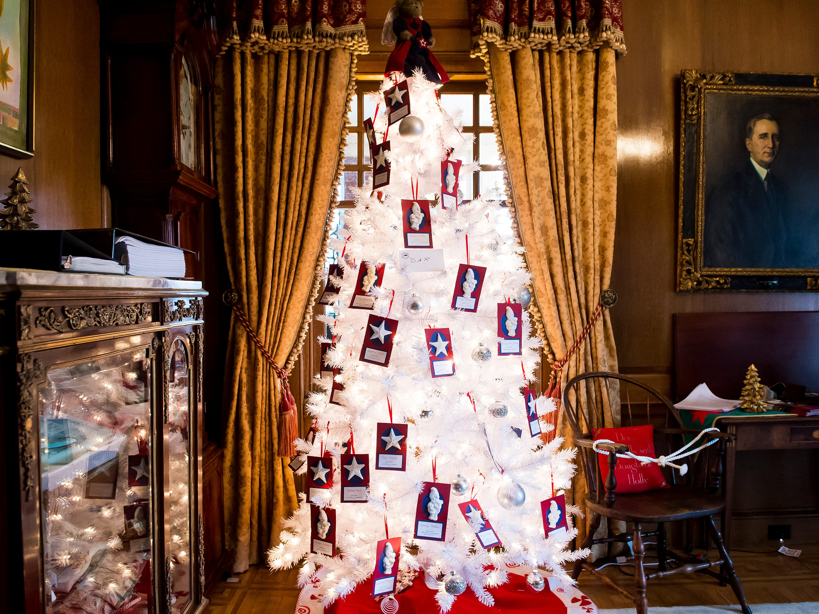 The Daughters of the American Revolution decorated this Christmas tree that is displayed in the Myers room of the Warehime-Myers Mansion in Hanover.