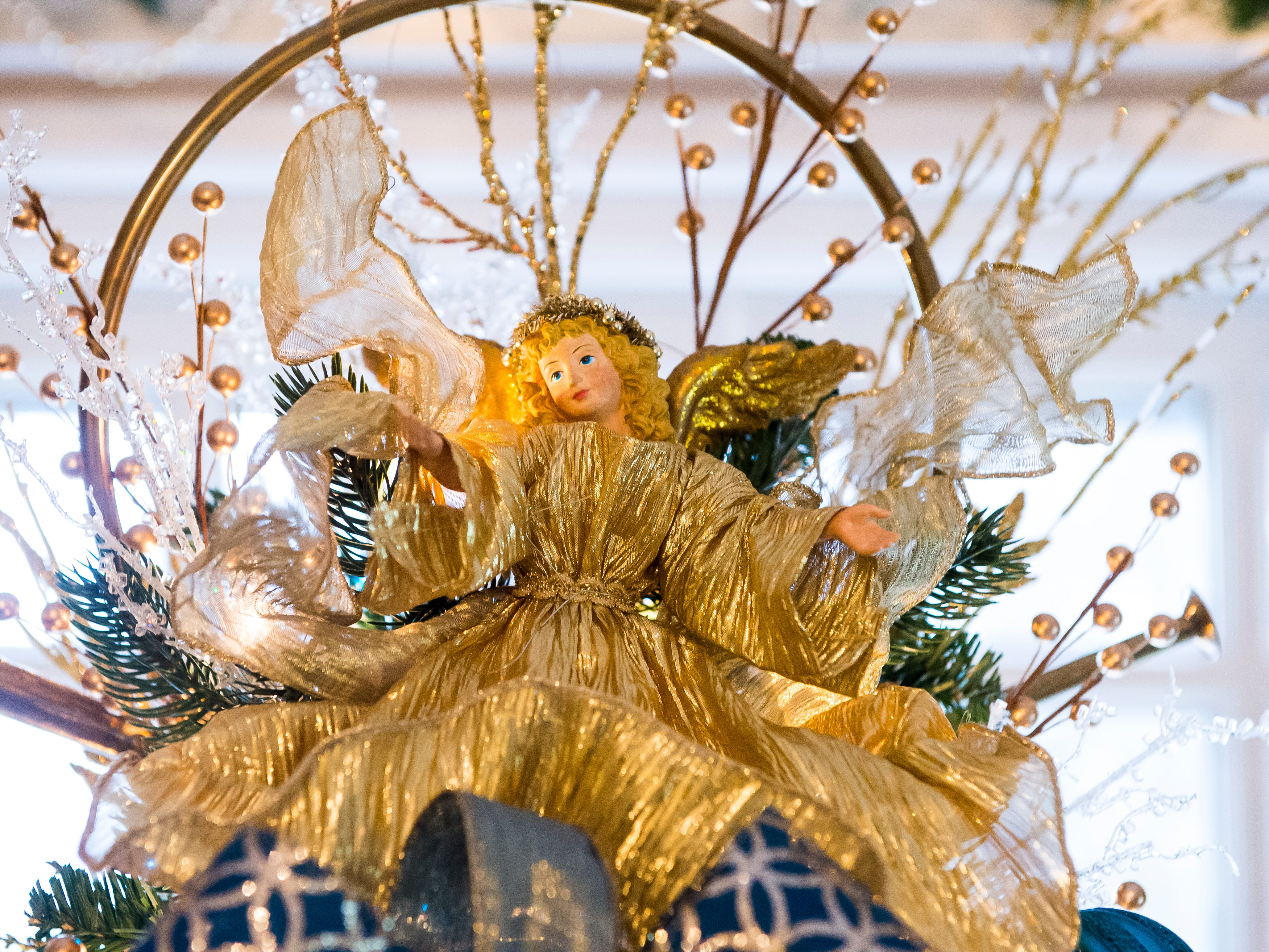 An angel adorns the top of a tree in the master bedroom of the Warehime-Myers Mansion in Hanover.