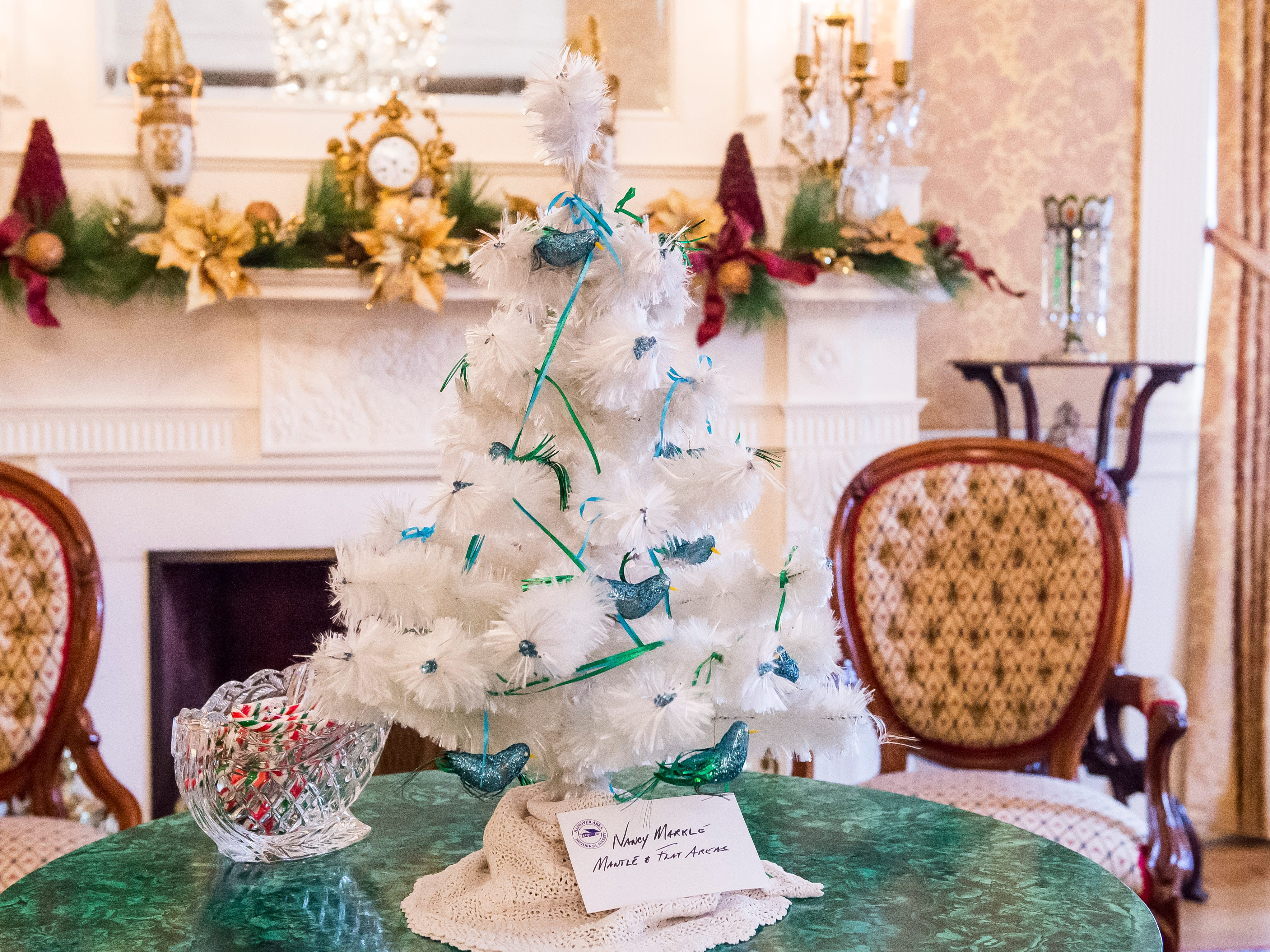 "A ""feather tree"" is one of over 40 Christmas trees on display at the Warehime-Myers Mansion in Hanover. Tree tours are currently being offered and a schedule can be found on the Hanover Area Historical Society's Facebook page."
