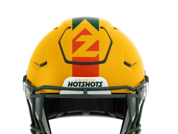 The Arizona Hotshots football helmet, revealed on Nov. 27, 2018.
