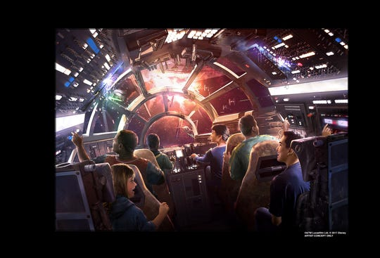 Guests will take control of Han Solo's ship in Millennium Falcon: Smugglers Run, one of two attraction inside Star Wars: Galaxy's Edge opening summer 2019.