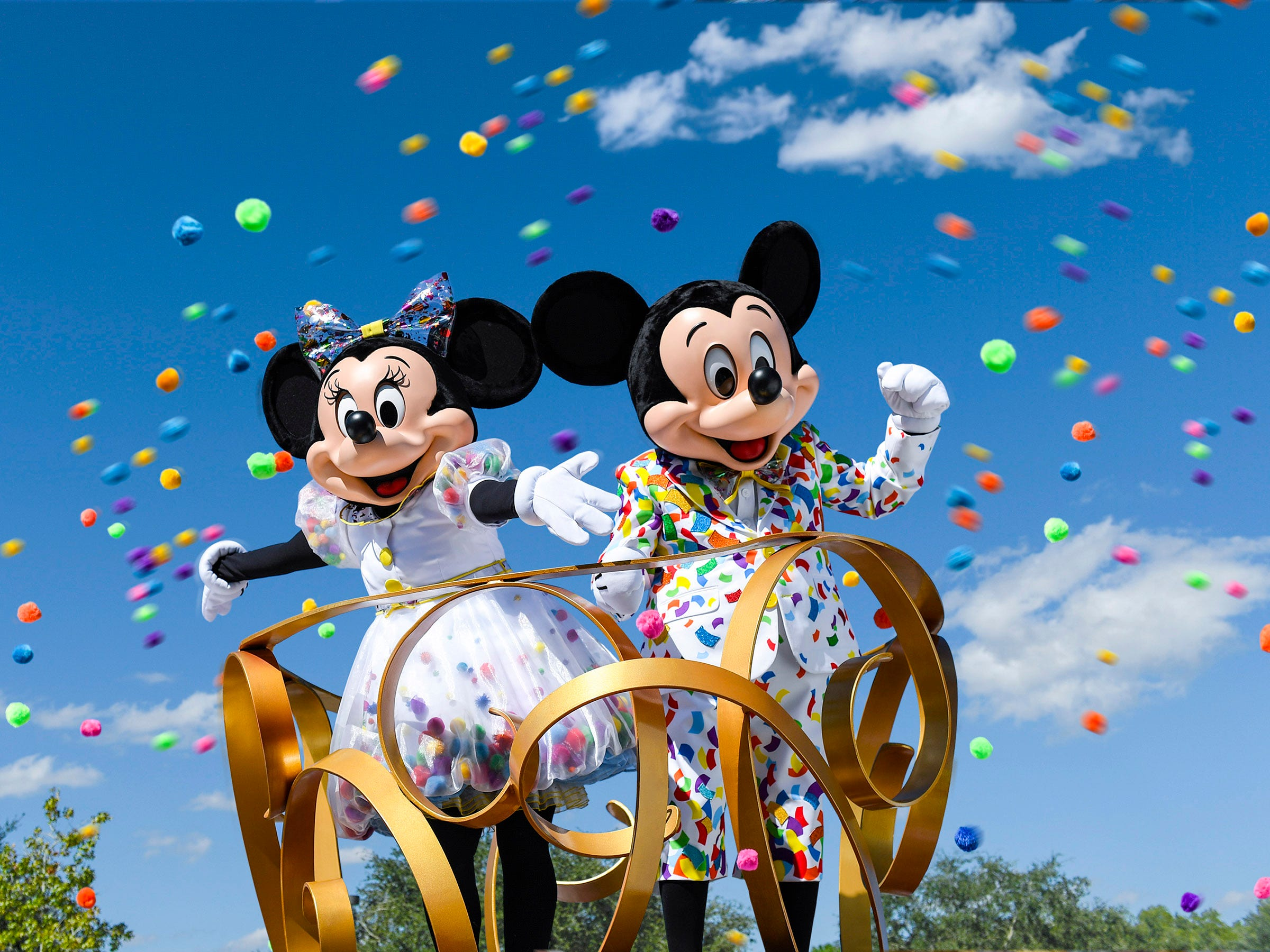 Mickey Mouse and Minnie Mouse don new outfits to commemorate 90 years of magic in celebrations across Disney Parks. Beginning in January 2019 at the Disneyland Resort,  guests are invited to Get Your Ears On - A Mickey and Minnie Celebration. The special party will feature new entertainment and decor at Disneyland, plus limited-time food and beverage offerings and festive merchandise available throughout the resort.