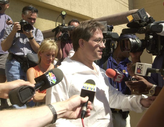 Mark Salerno answers reporters questions after being released from Madison Street Jail May 14. 2002. The 45-year-old doctor was released to his wife, Irene Haraldson.