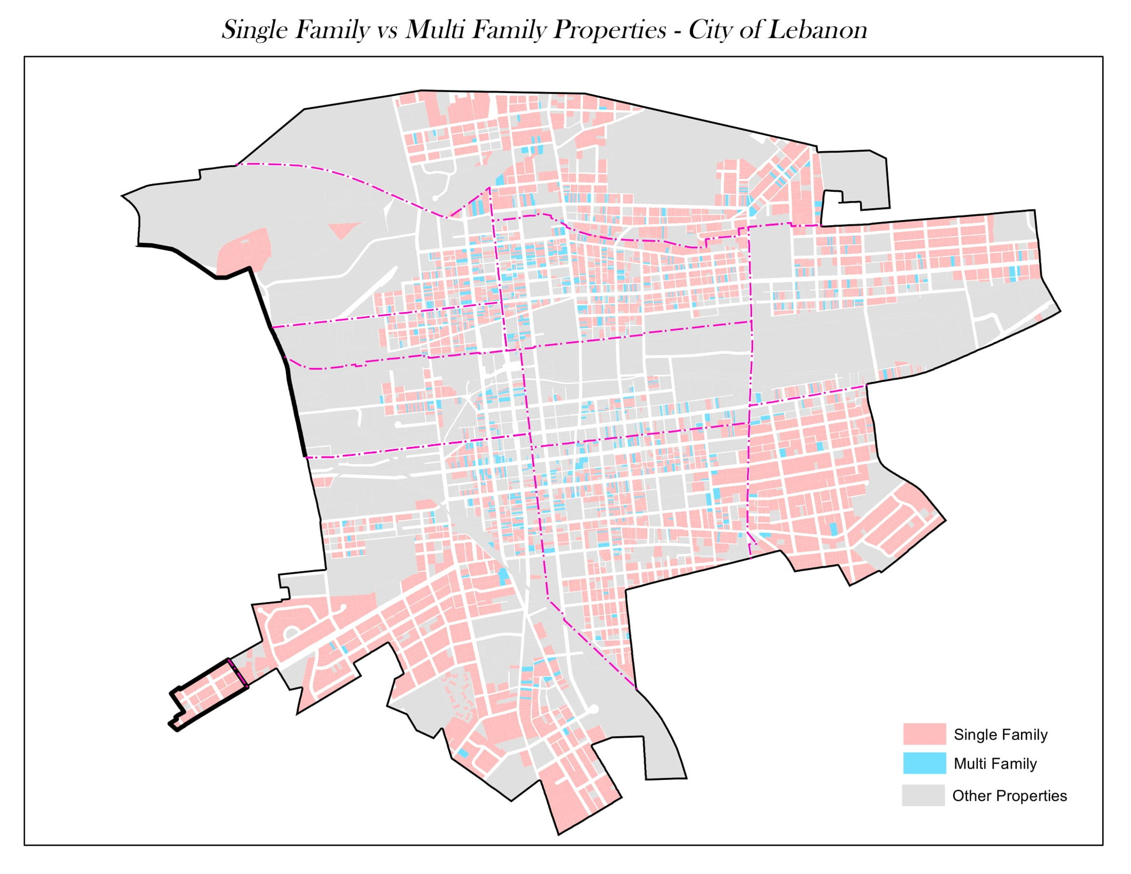 This map shows where single-family and multi-family properties are located in Lebanon (non-residential properties are in grey). Prepared by the Lebanon County Tax Assessment Office.