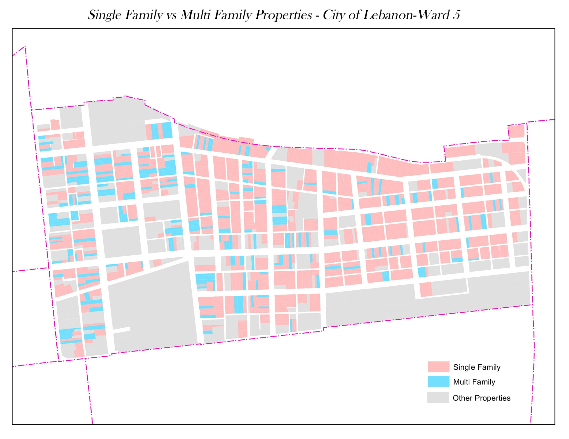 Ward 5, on Lebanon's north side, has a particularly high percentage of multi-family dwellings. Map created by Lebanon County Tax Assessment Office.