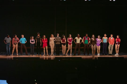 """The cast of Beacon Players's production of """"A Chorus Line"""" takes the stage. The musical opens Dec. 7 at Beacon High School."""