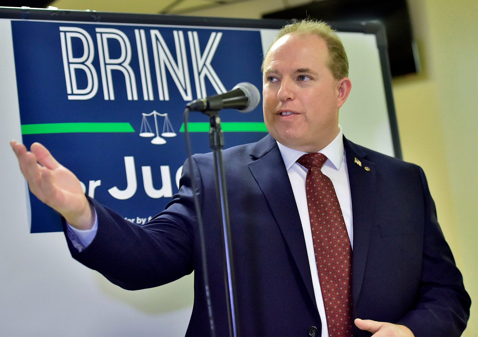 Ian Brink, pictured at his candidacy announcement on Nov. 27, 2018.