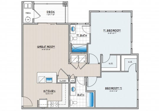 Floor plan for Wynfield's C1 2-bedroom unit.   The Wynfield apartment complex will be built by Burkentine Property Management in York Township by Summer 2019.