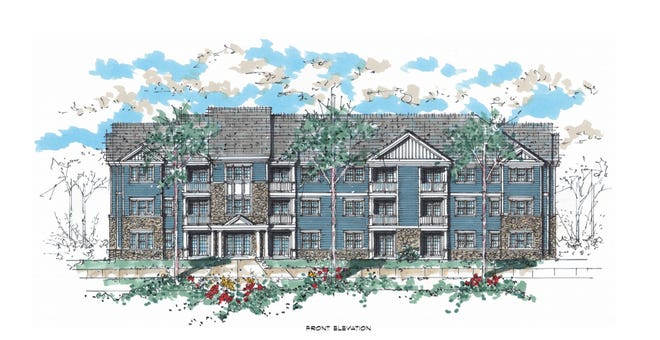 Front rendering of Wynfield, a 240-unit luxury apartment complex to be built by Burkentine Property Management in York Township by Summer 2019.