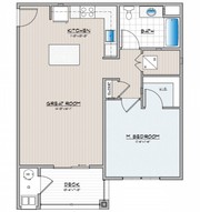 Floor plan for Wynfield's A1 1-bedroom unit.   The Wynfield apartment complex will be built by Burkentine Property Management in York Township by Summer 2019.
