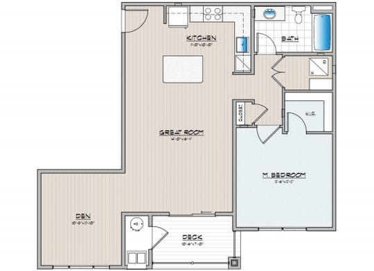 Floor plan for Wynfield's B1 1-bedroom unit with den.  The Wynfield apartment complex will be built by Burkentine Property Management in York Township by Summer 2019.