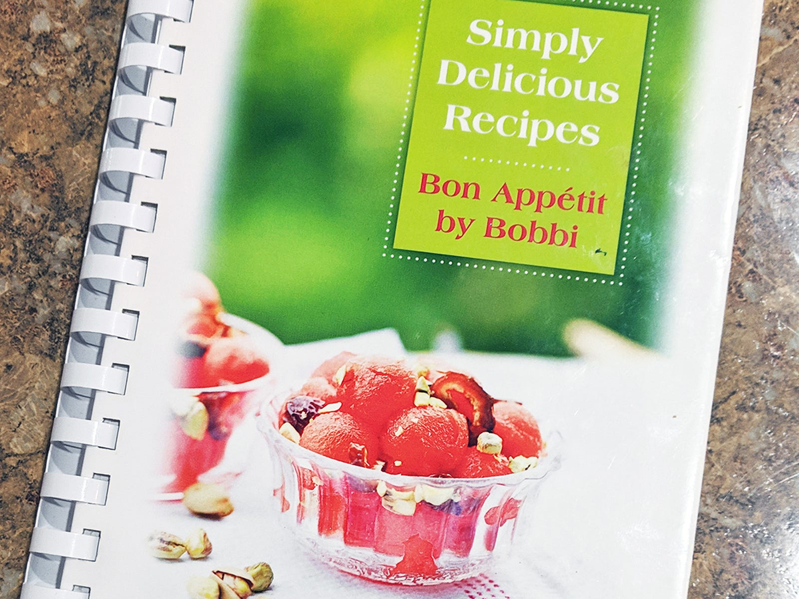 This is the Simply Delicious Recipes cookbook by Bobbi Leckrone on the kitchen counter of her York Township home.