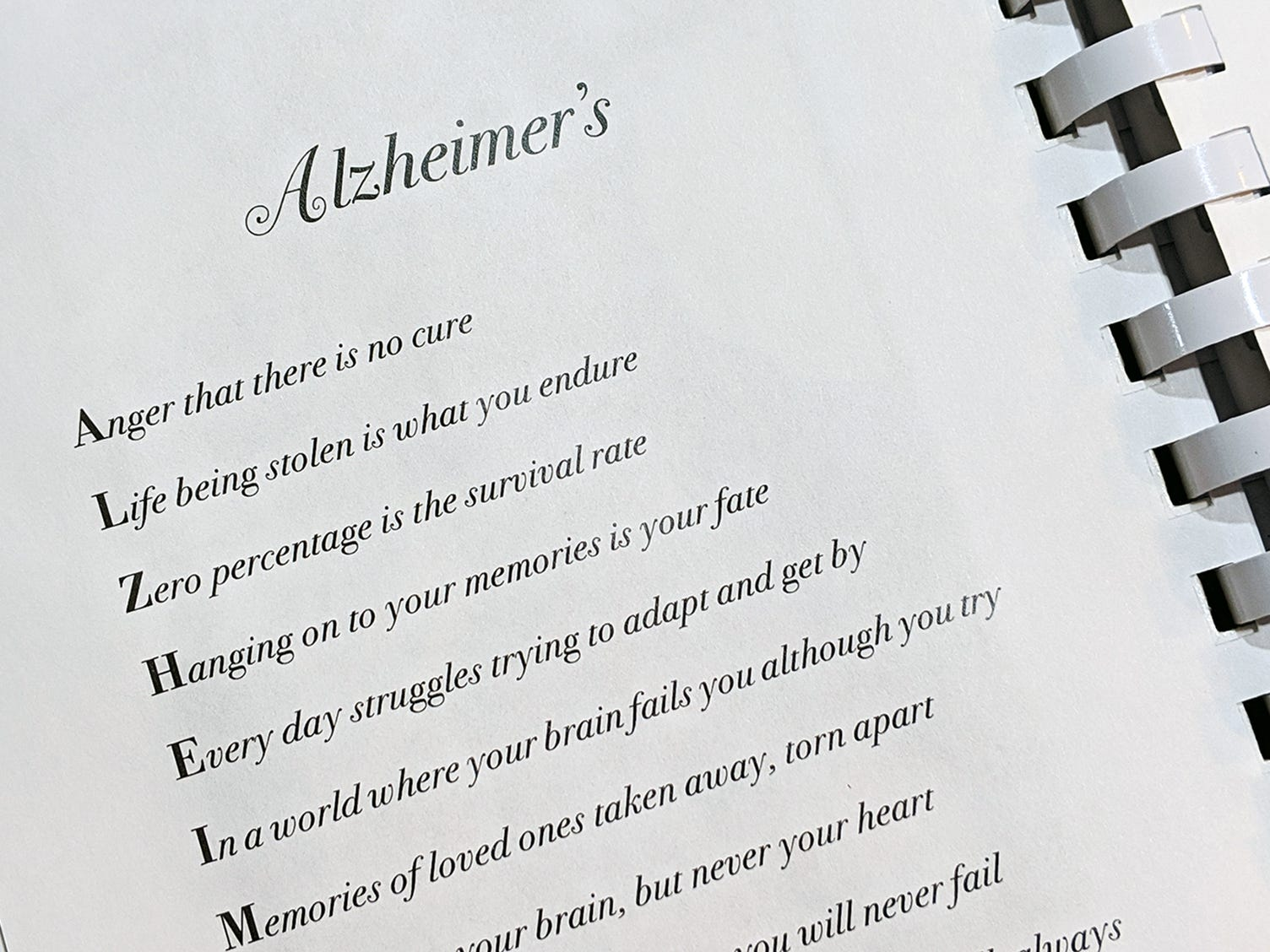 A poem about Alzheimer's is featured in the cookbook. Proceeds from the cookbook benefit Alzheimer's research.