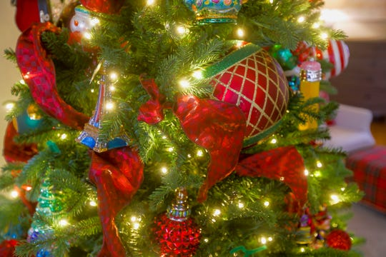 Amie Freling-Brown  likes to use bold ornaments on her Christmas tree.