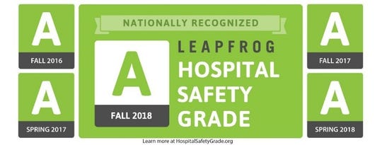 Saint Mary's Regional Medical Center has received five consecutive A's since 2016 on Leapfrog.