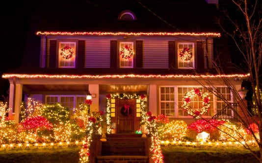 Luxury Brooklyn House With Christmas Lights At Night New York