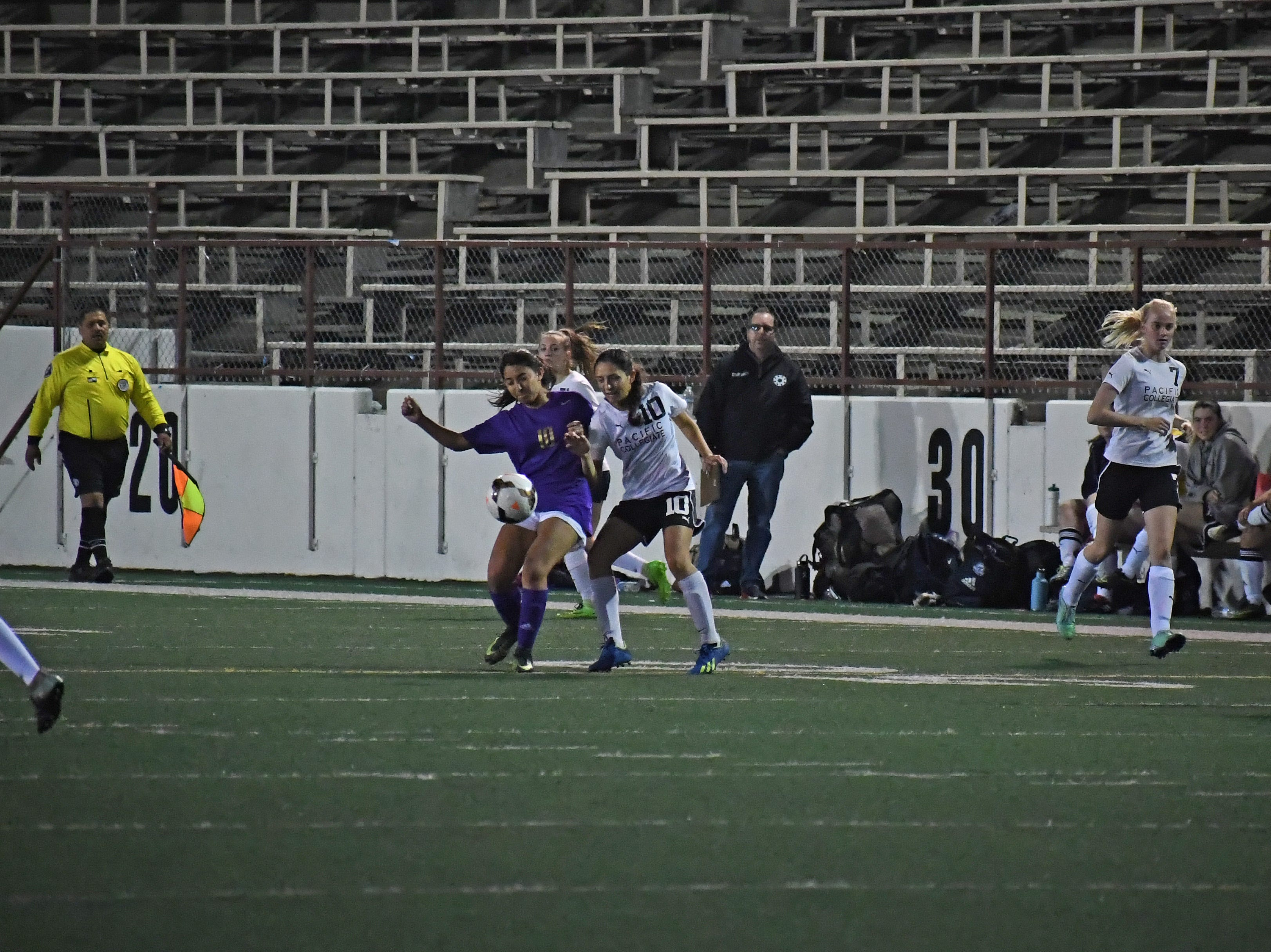 Senior Yadira Acosta (10) scored the lone goal of Monday's match.