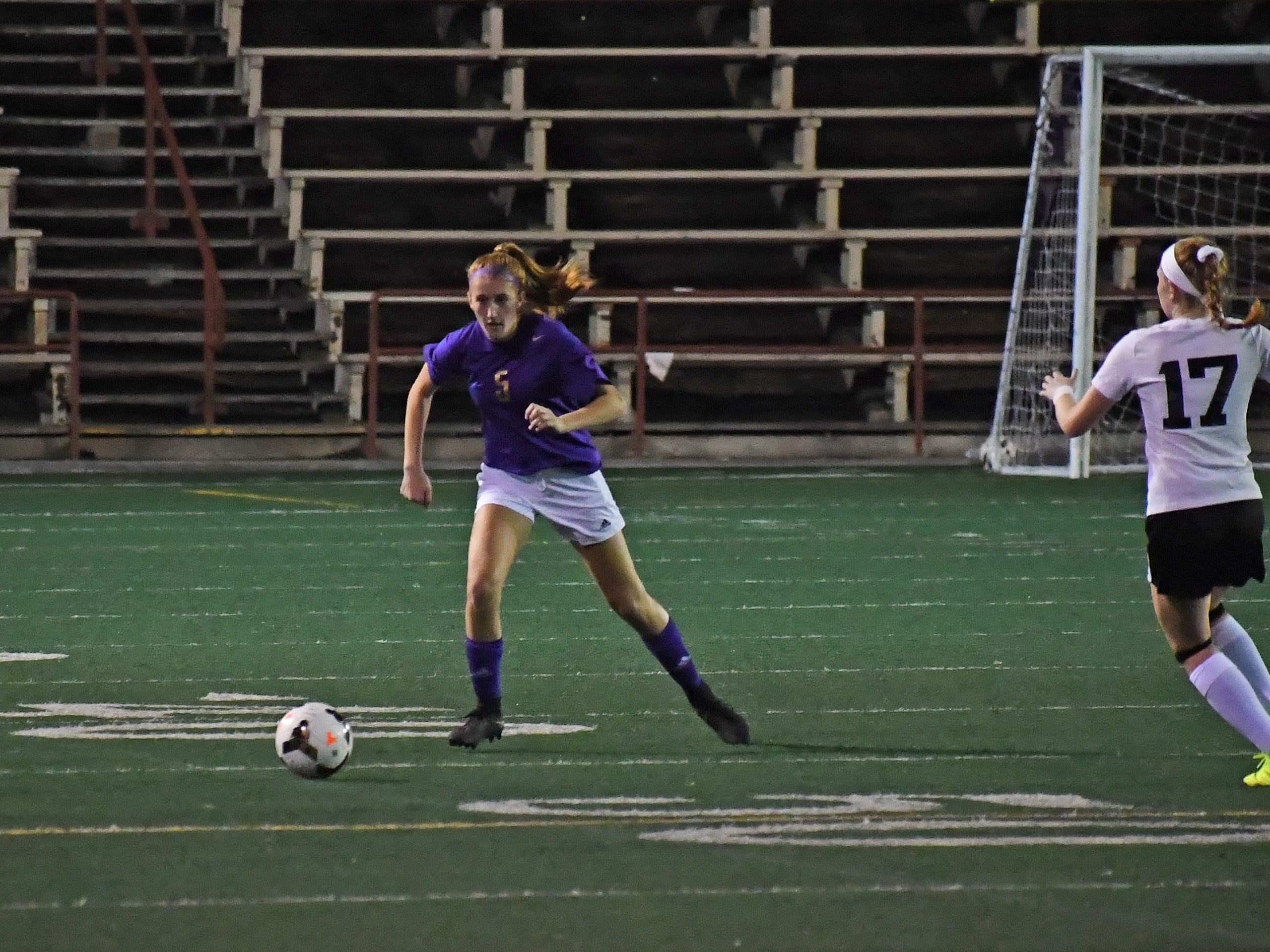 Sophomore Isabela Richert (5) notched an assist in Monday's win.