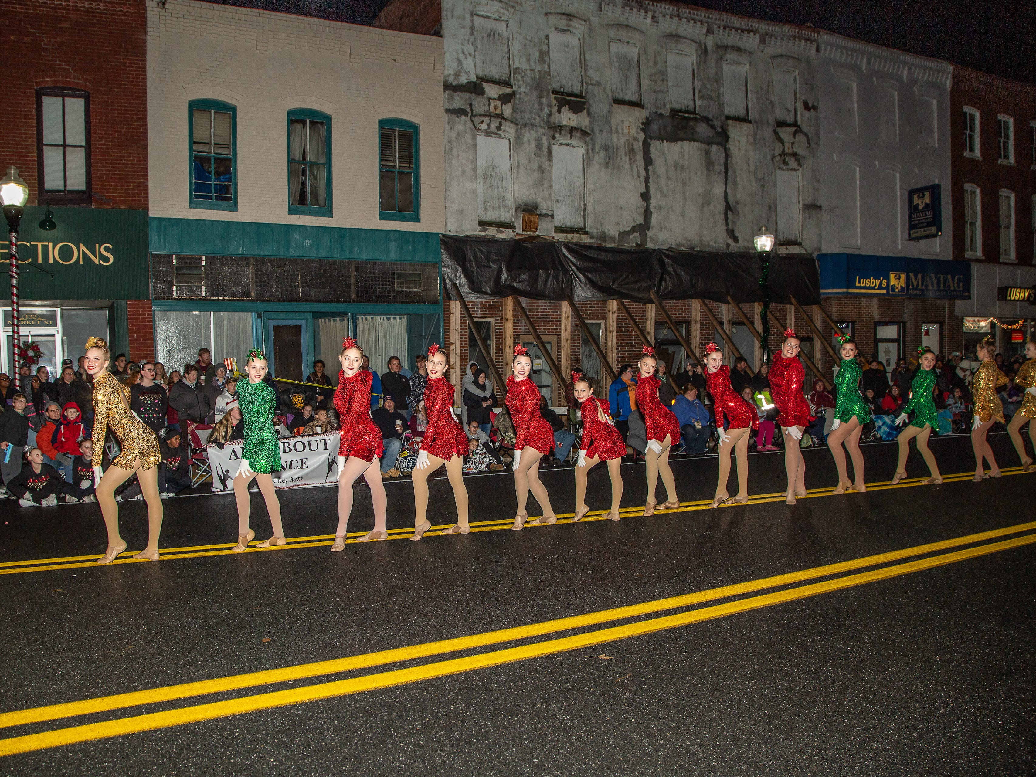 Members of All About Dance from Pocomoke perform at the annual Christmas parade.