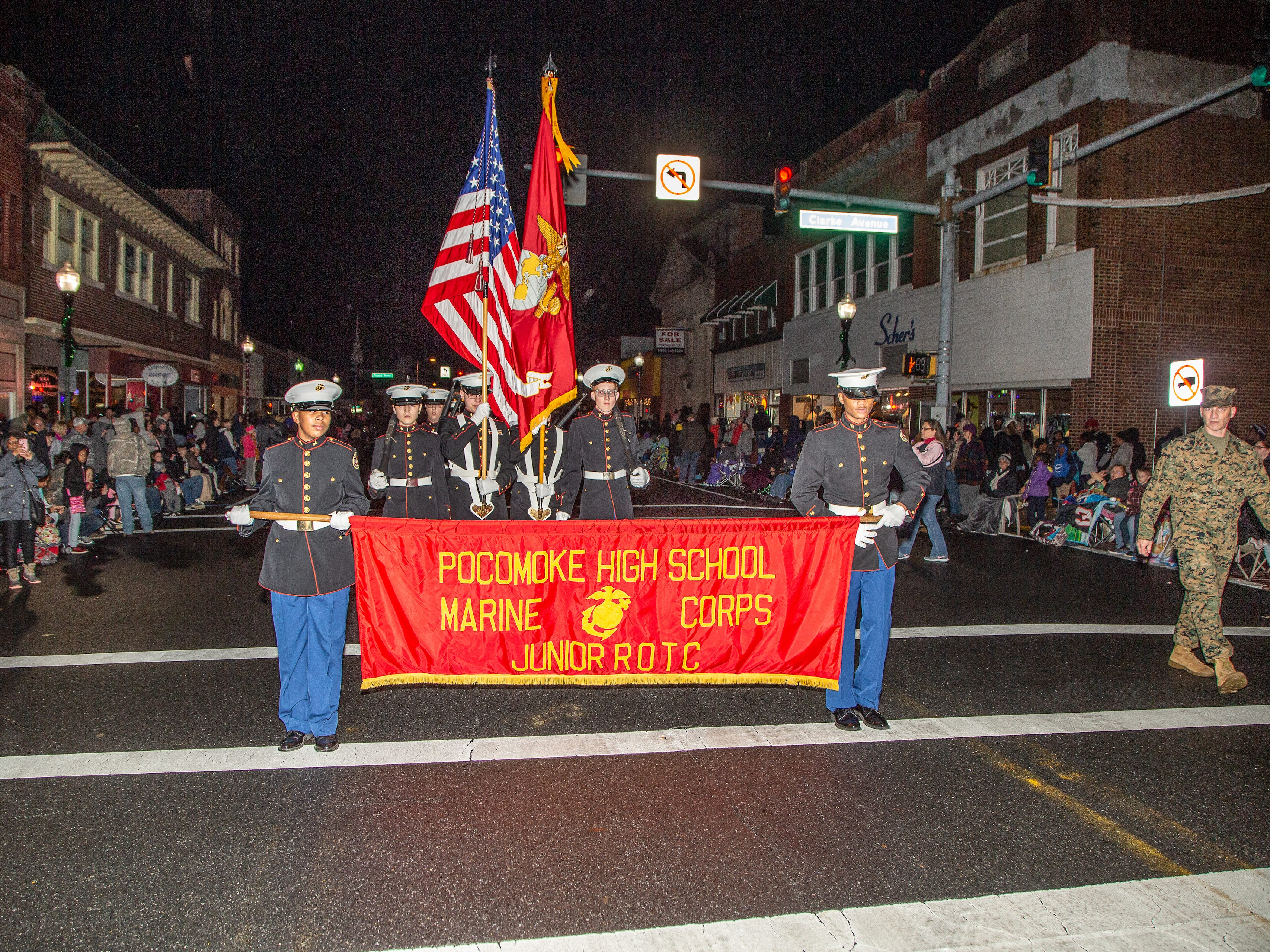 Pocomoke High School JROTC unit marches in the annual Christmas parade.