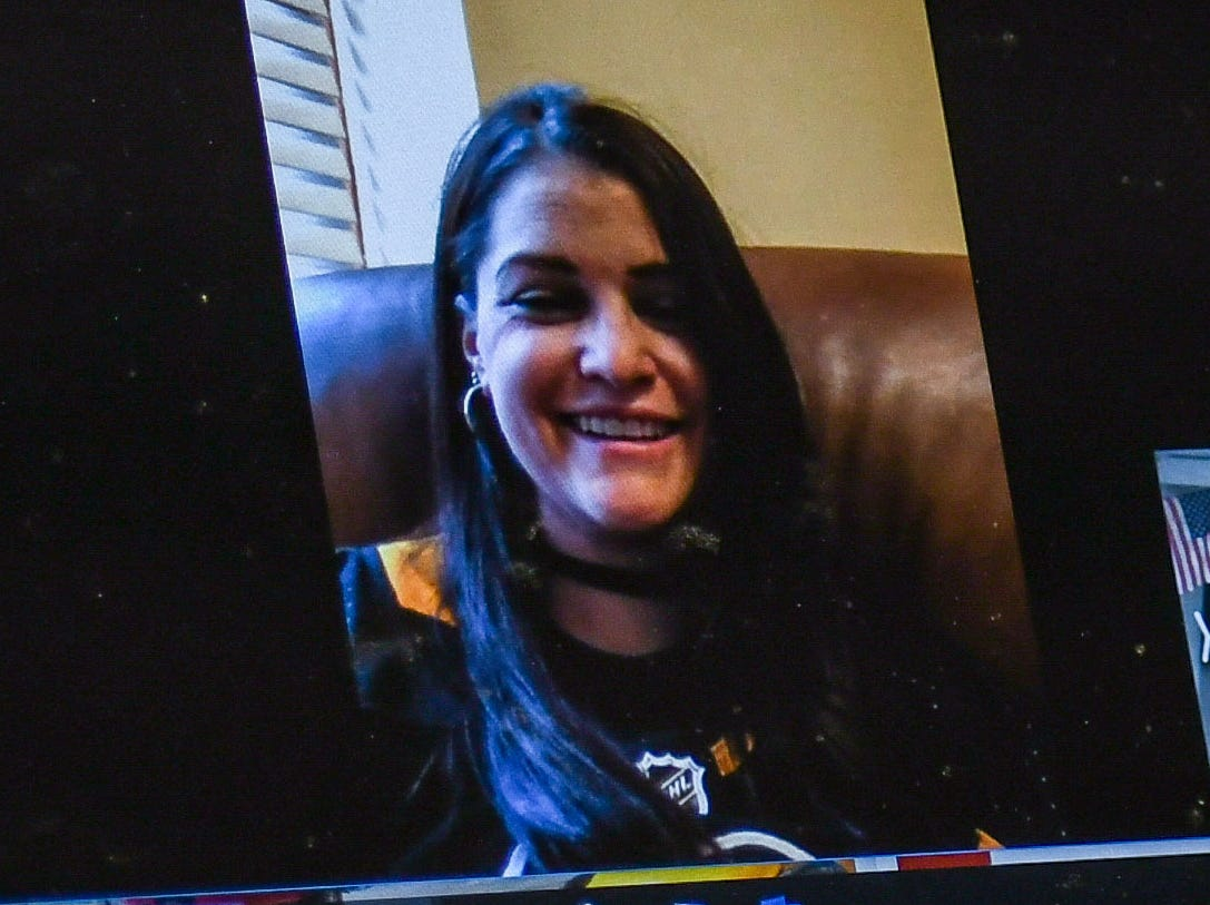 Kelly Sowatsky of Lancaster, PA talks over Facebook video messenger on Tuesday, Nov 27, 2018 about the kidney she received from Wicomico Middle School teacher Jeff Lynd.