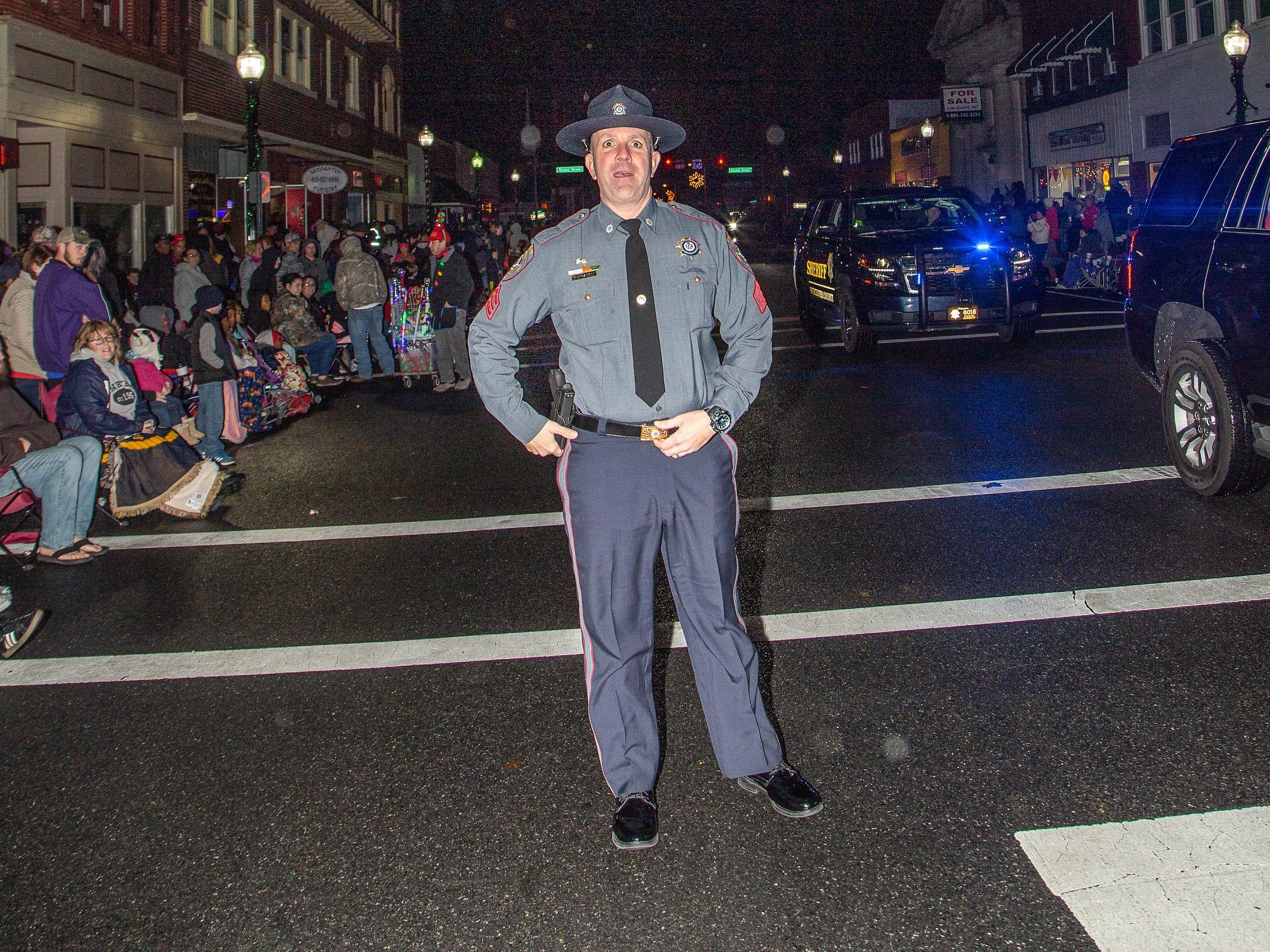 Worcester County Sheriff-elect Matt Crisafulli attends Pocomoke City's Christmas parade.