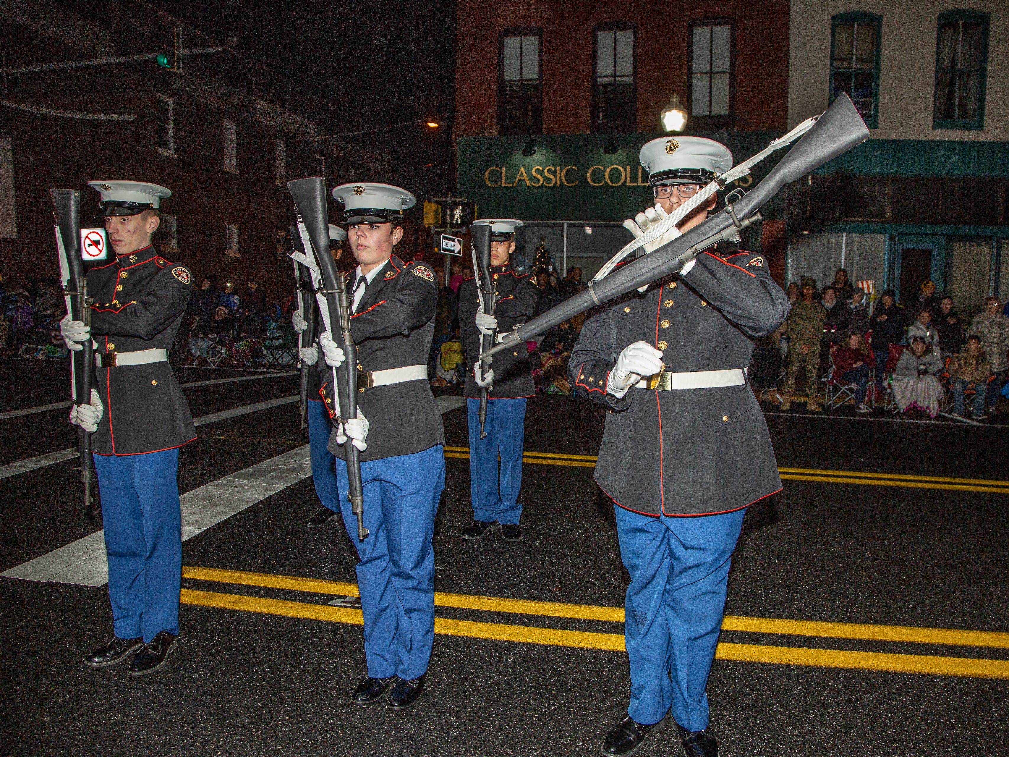 Pocomoke High School ROTC unit performs during the annual Christmas parade Nov. 26.