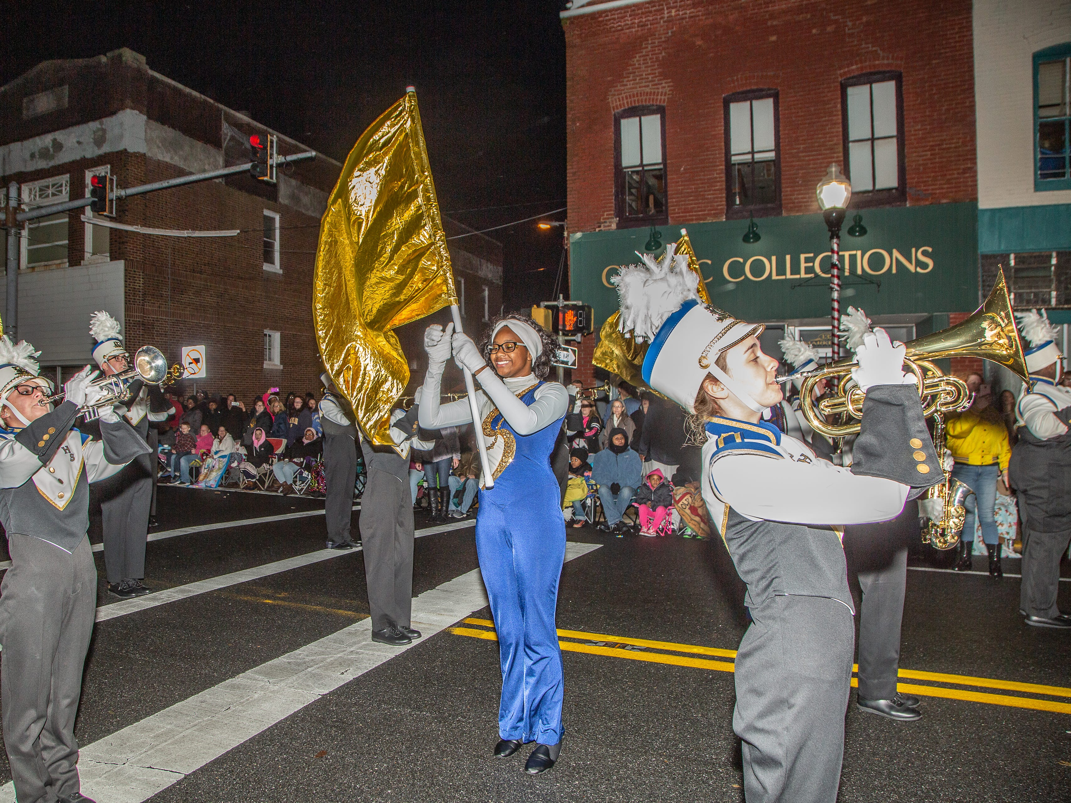 Pocomoke High School marching band performs at the Christmas parade..