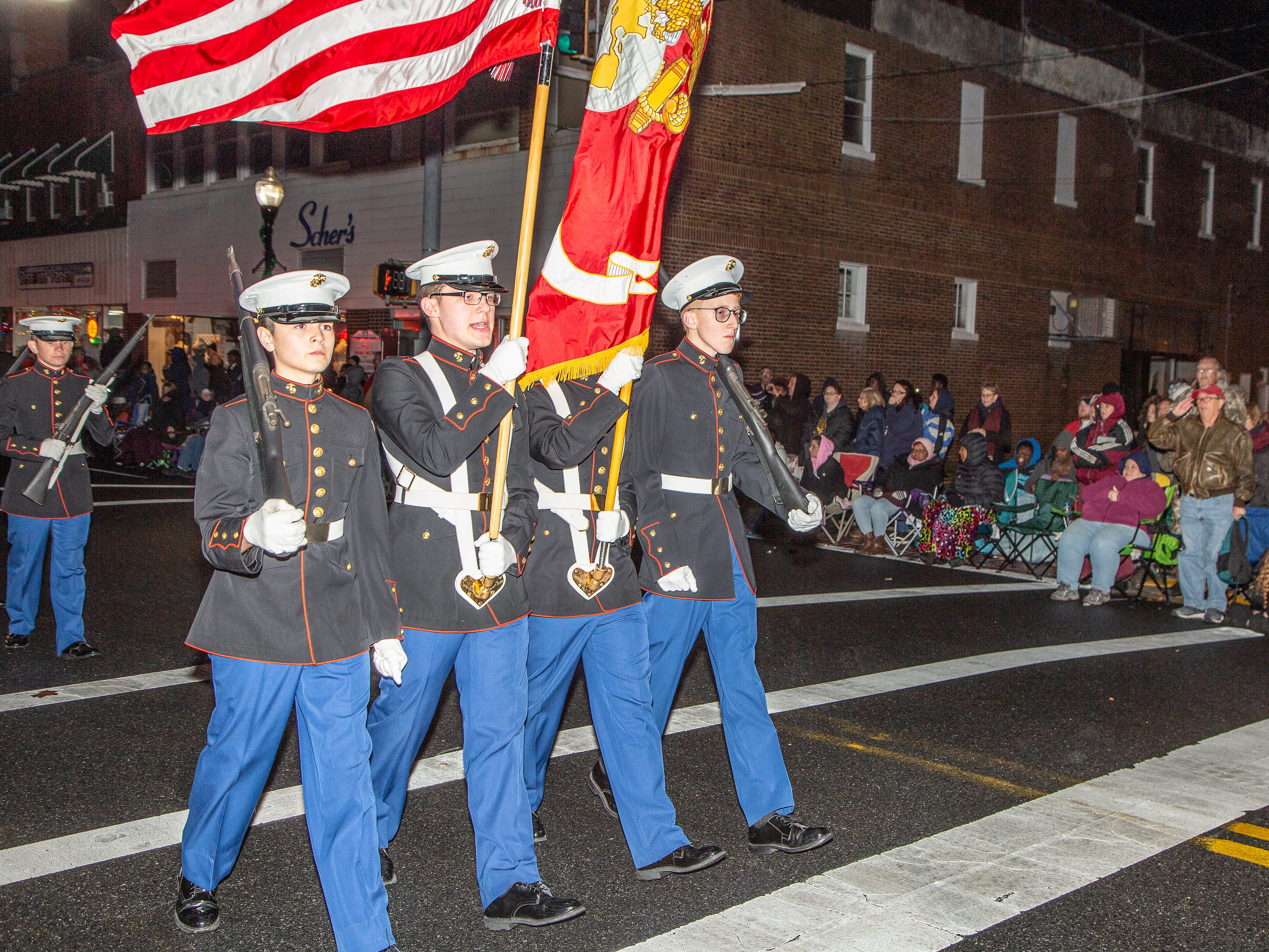 Pocomoke High School ROTC unit marches in the town's annual Christmas parade on Nov. 26.
