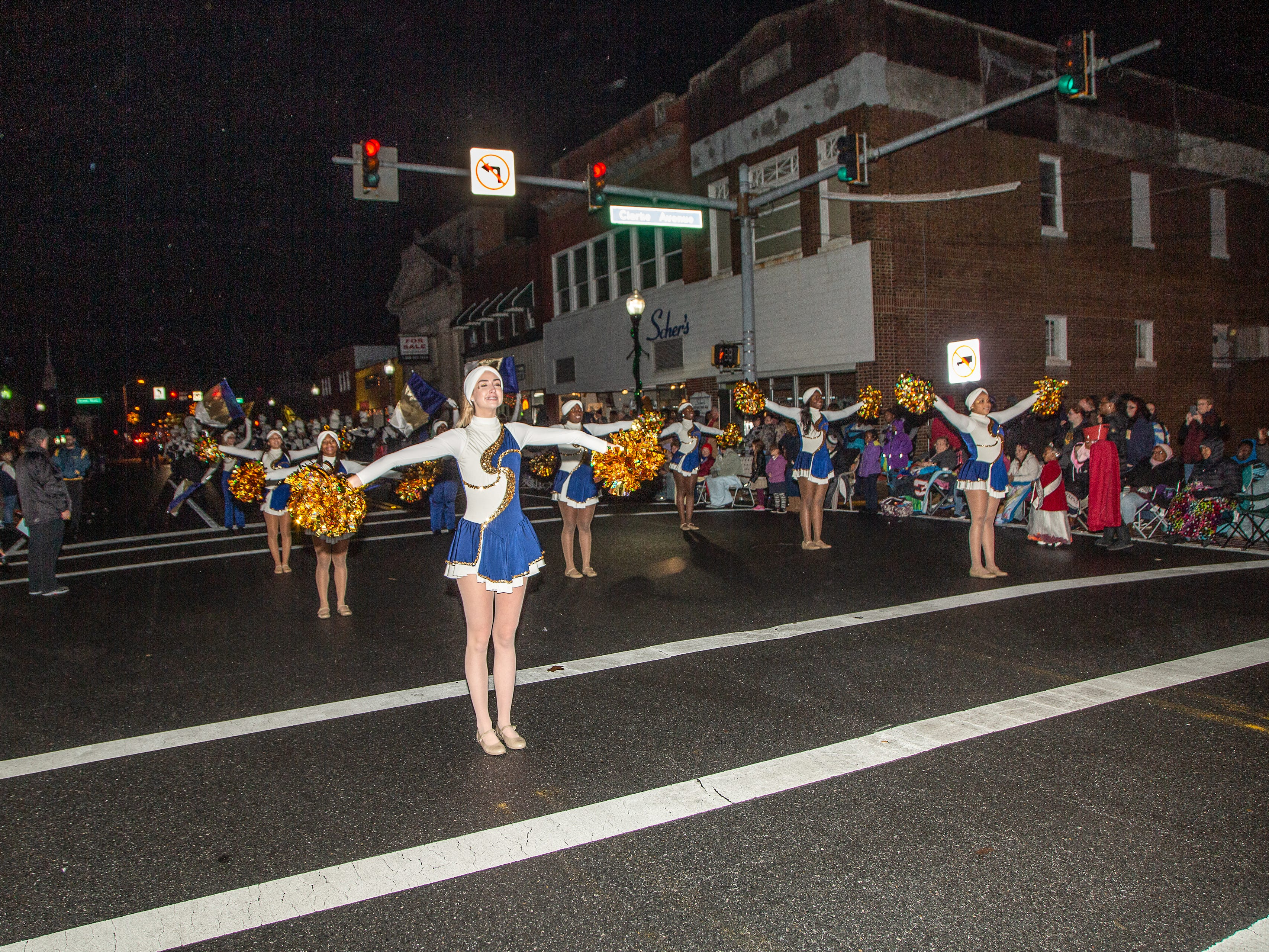 Pocomoke High School marching band takes part in the annual Christmas parade.