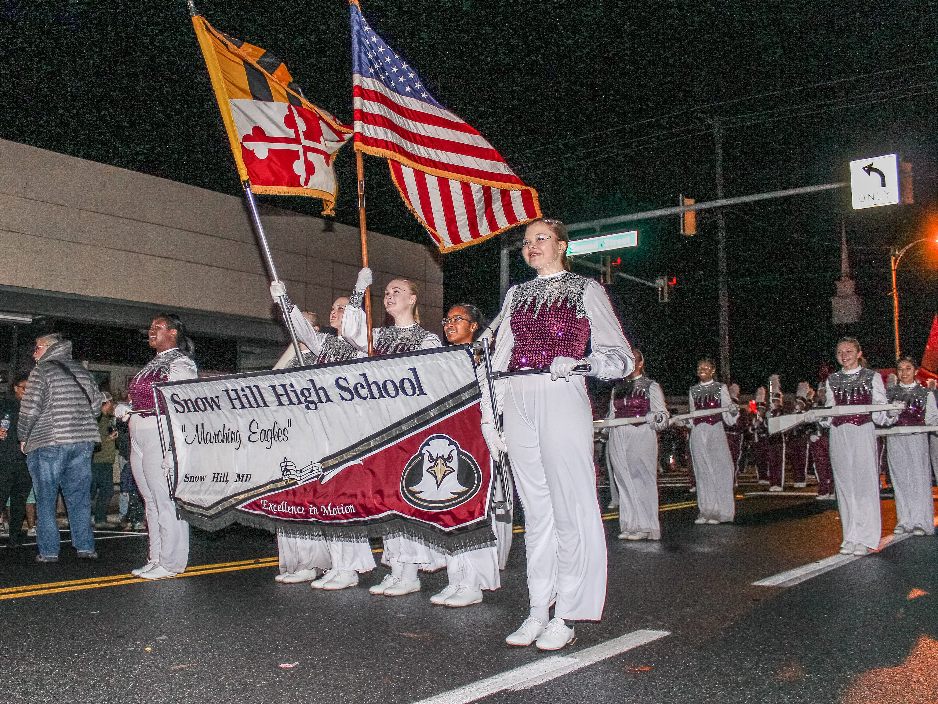 Snow Hill High School marching band takes part in Pocomoke's Christmas parade.