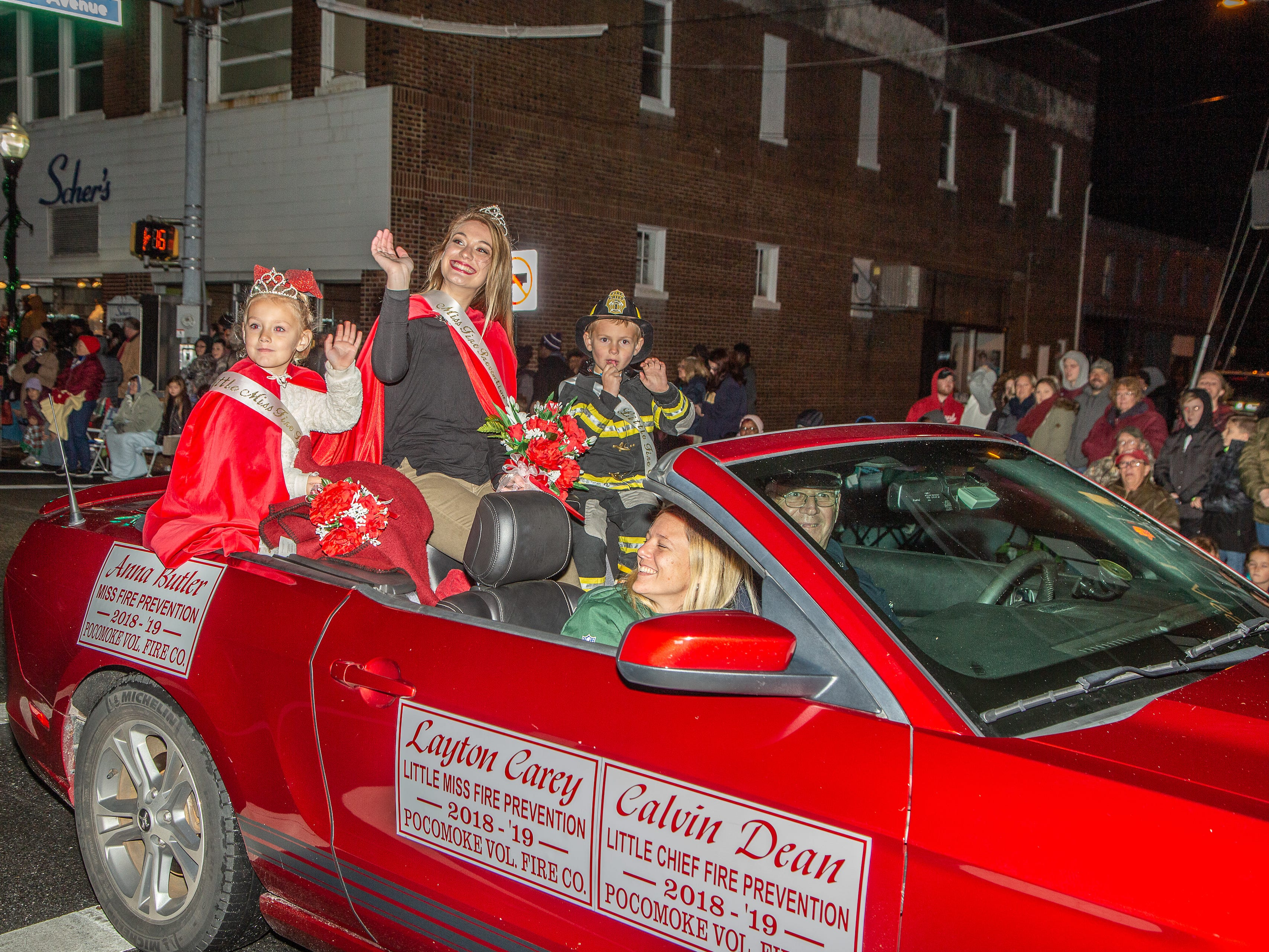 Pocomoke Volunteer Fire Company's fire prevention royalty rides in the annual Christmas parades.