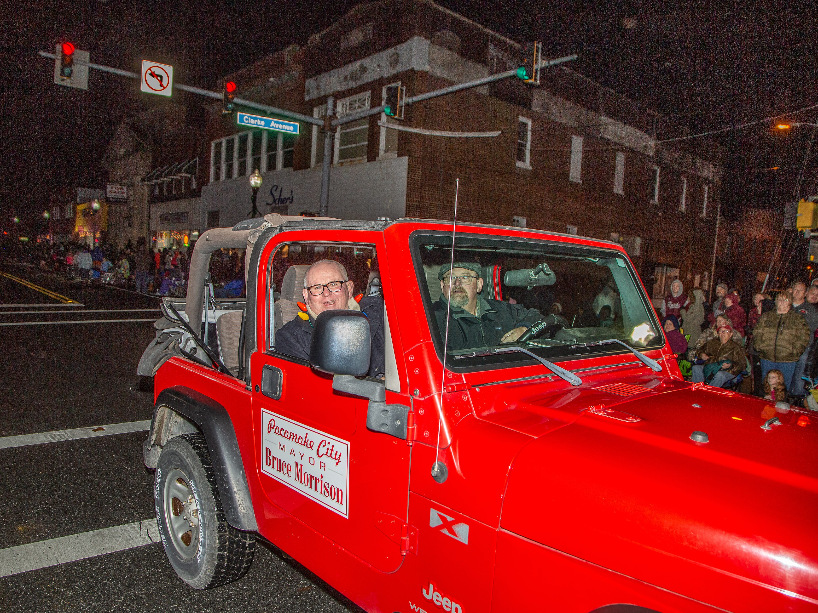 Pocomoke City Mayor Bruce Morrison leads the annual Christmas parade on Nov. 26.