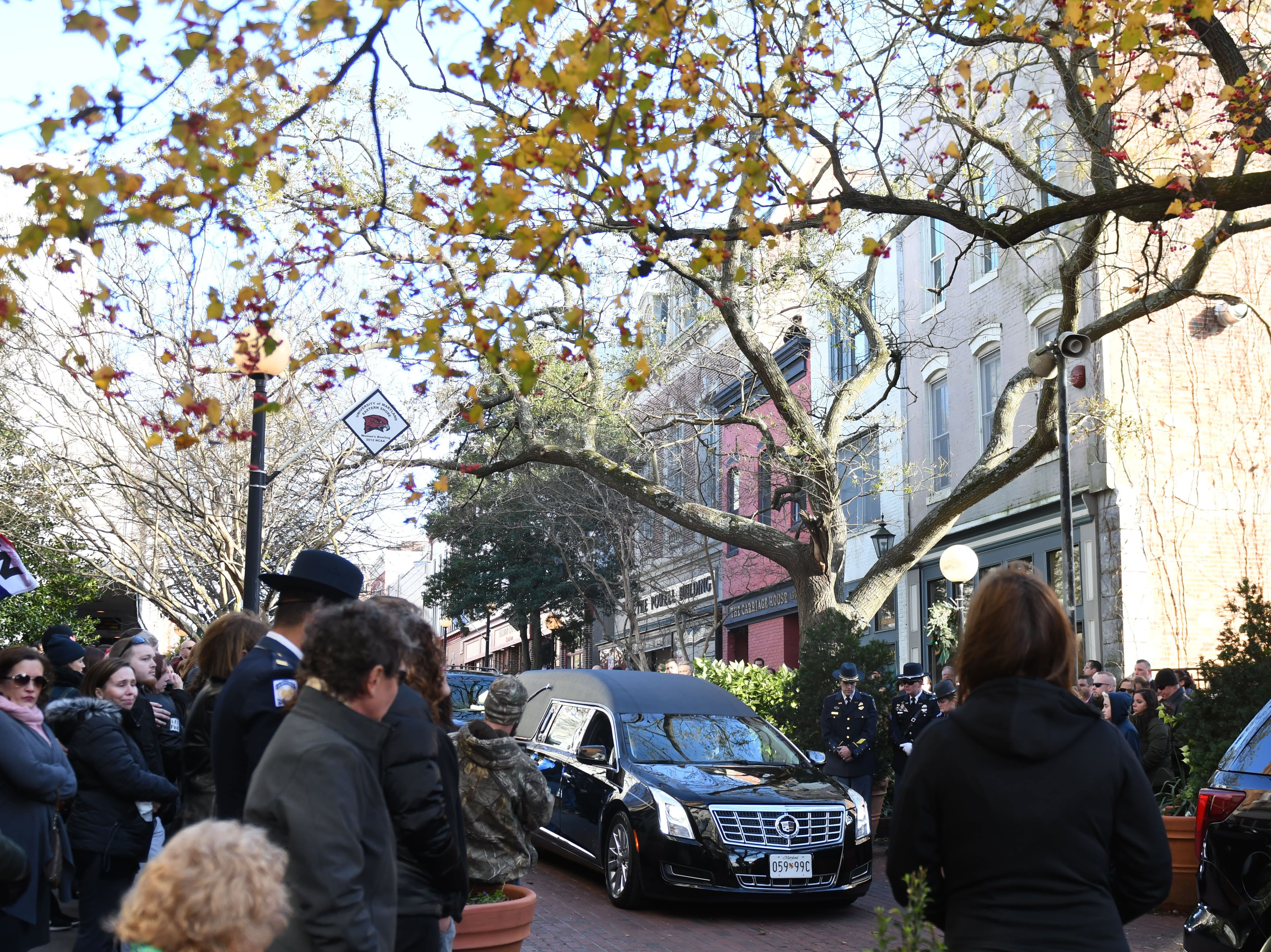 """Members of the community gathered on the downtown plaza on Tuesday, Nov. 27, 2018, for a moment of silence and a last call for Salisbury Police Officer Aaron """"Bull"""" Hudson who died unexpectedly while off duty on Nov. 19, 2018."""