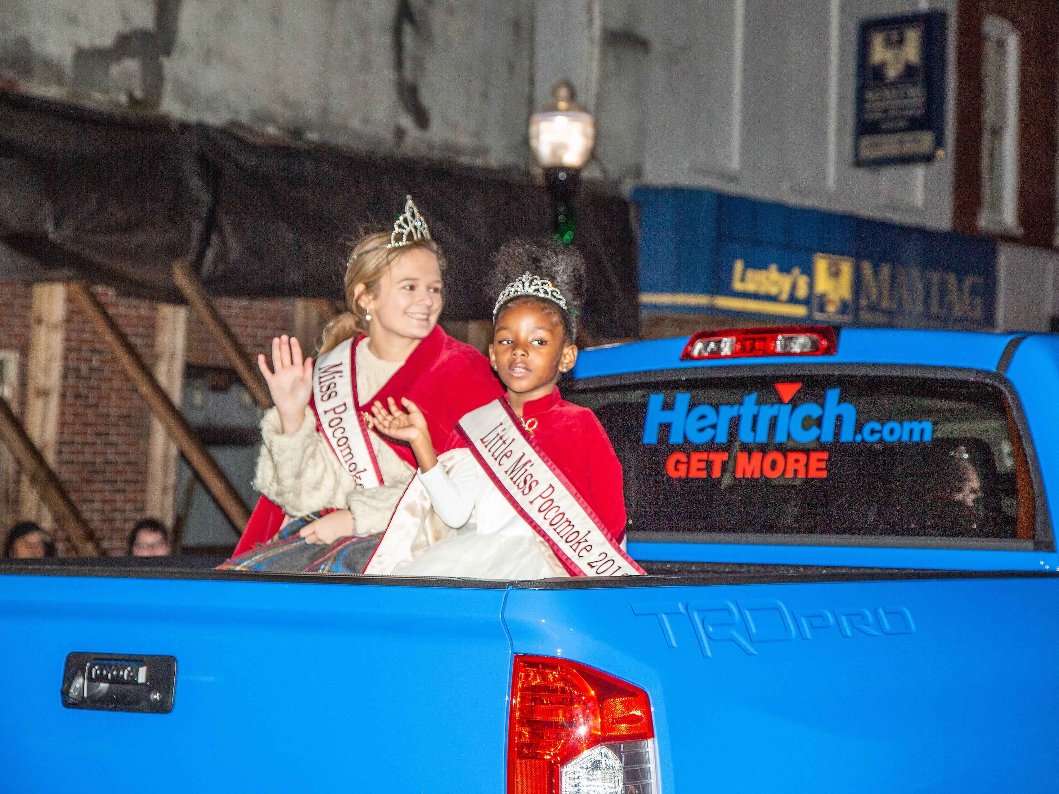 Miss and Little Miss Pocomoke ride in the town's annual Christmas parade.