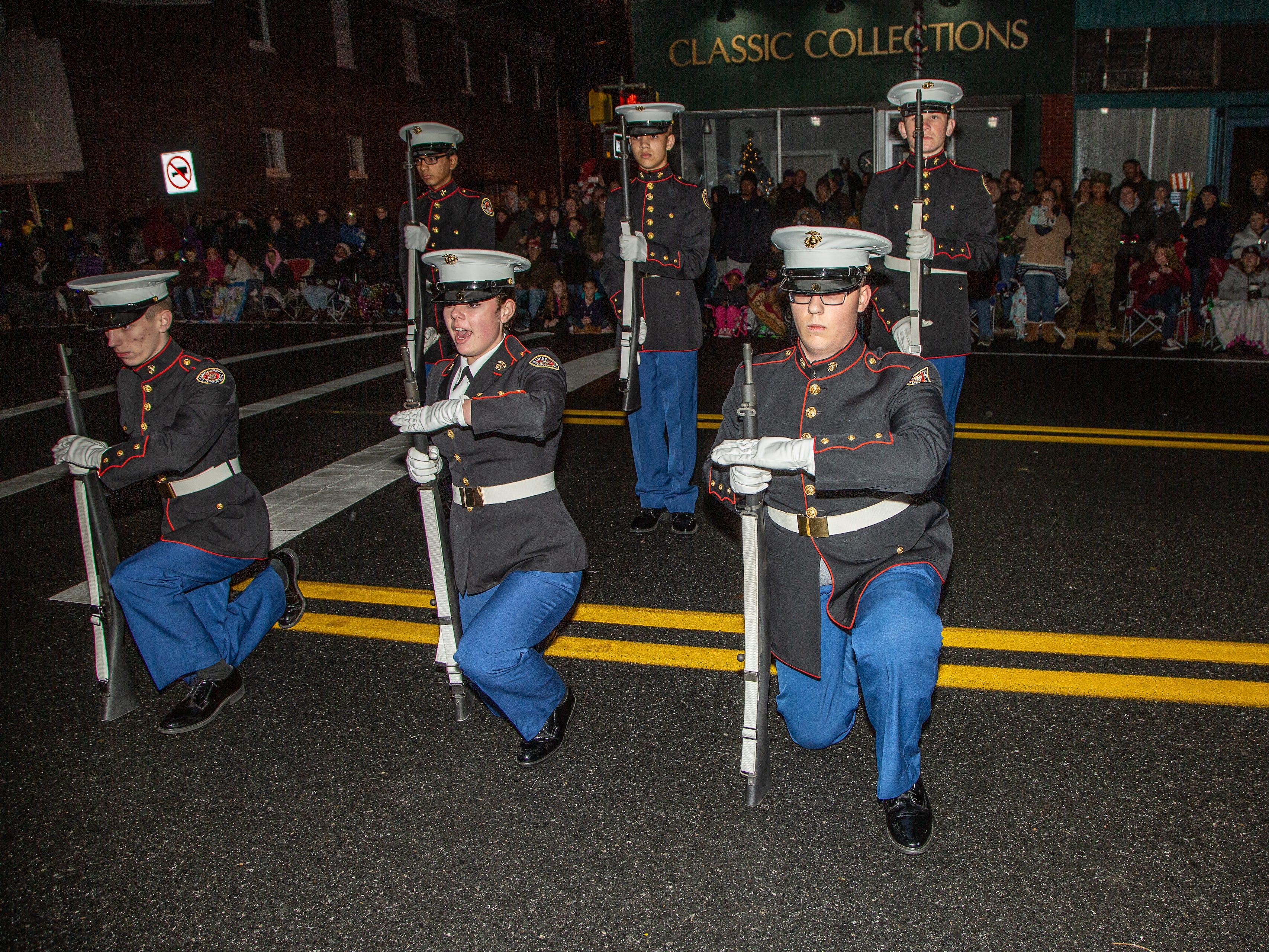 Pocomoke High School ROTC unit performs during the Christmas parade on Nov. 26.