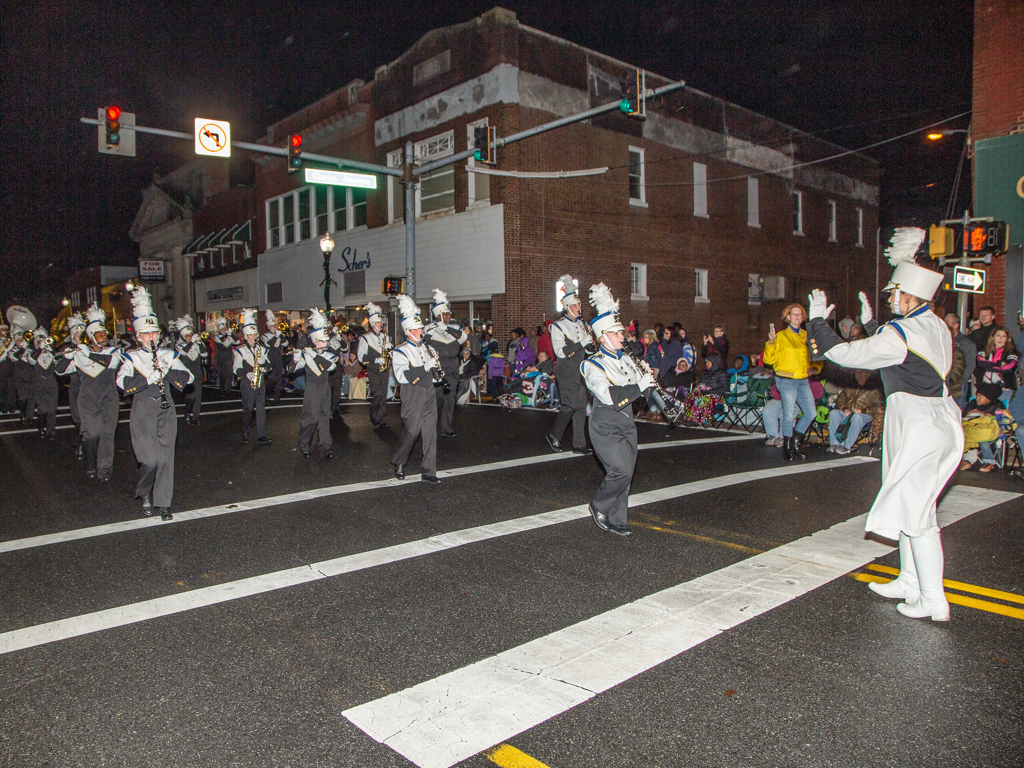 Pocomoke High School marching band takes part  in the annual Christmas parade Nov. 26.