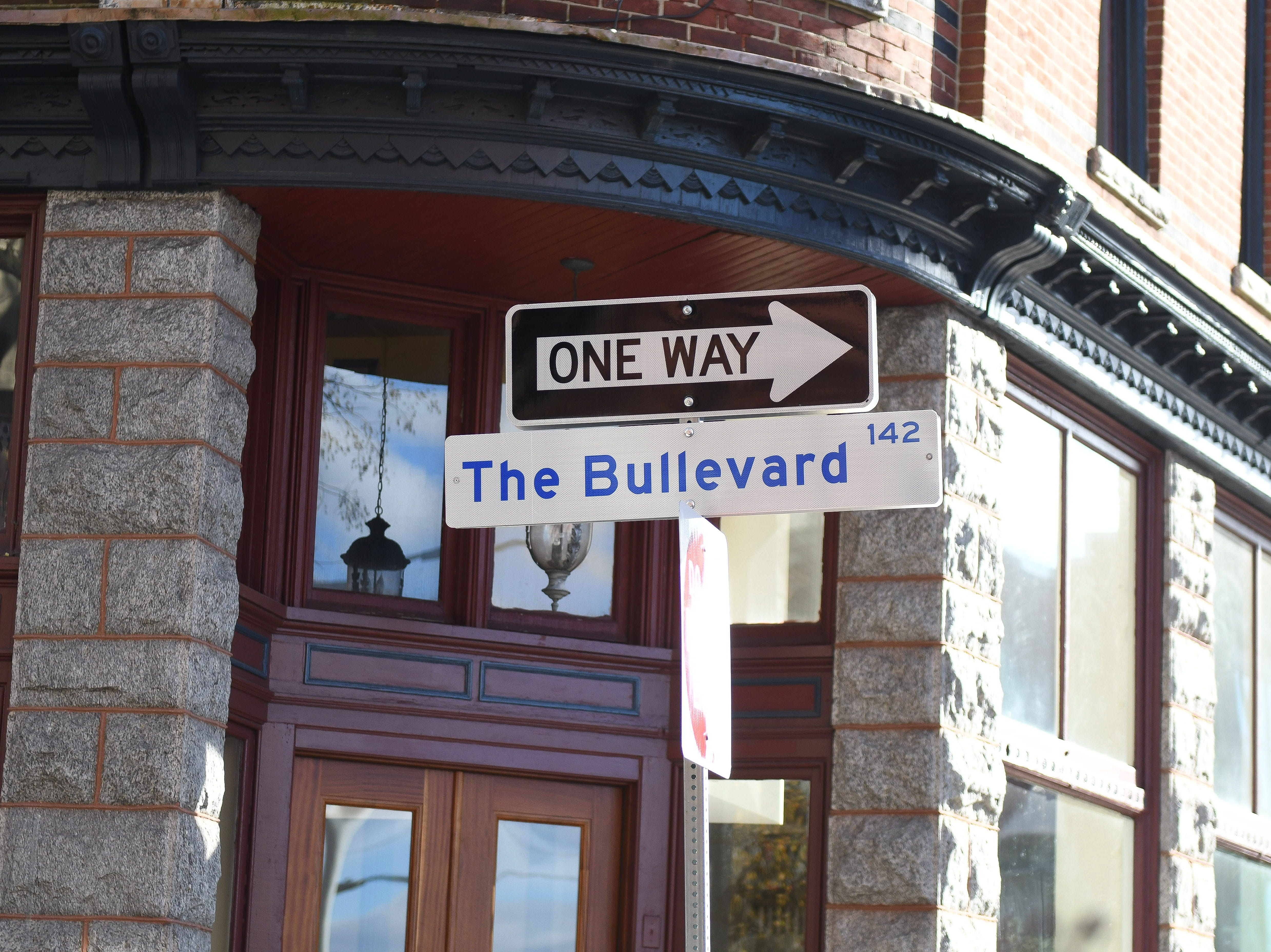 """A """"The Boulevard 142"""" sign has been placed to honor Salisbury Police Officer Aaron """"Bull"""" Hudson on Main Street in downtown Salisbury after the unexpected passing of Officer Hudson."""