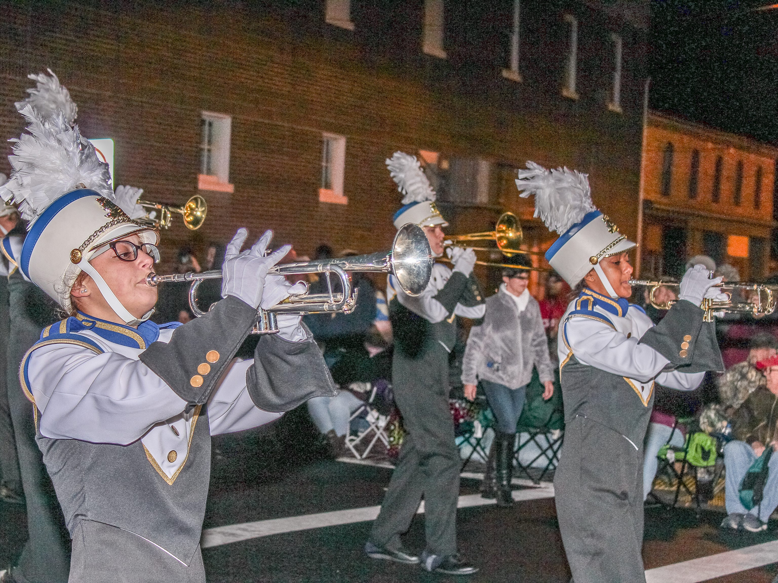 Pocomoke High School marching band performs at the Christmas parade.