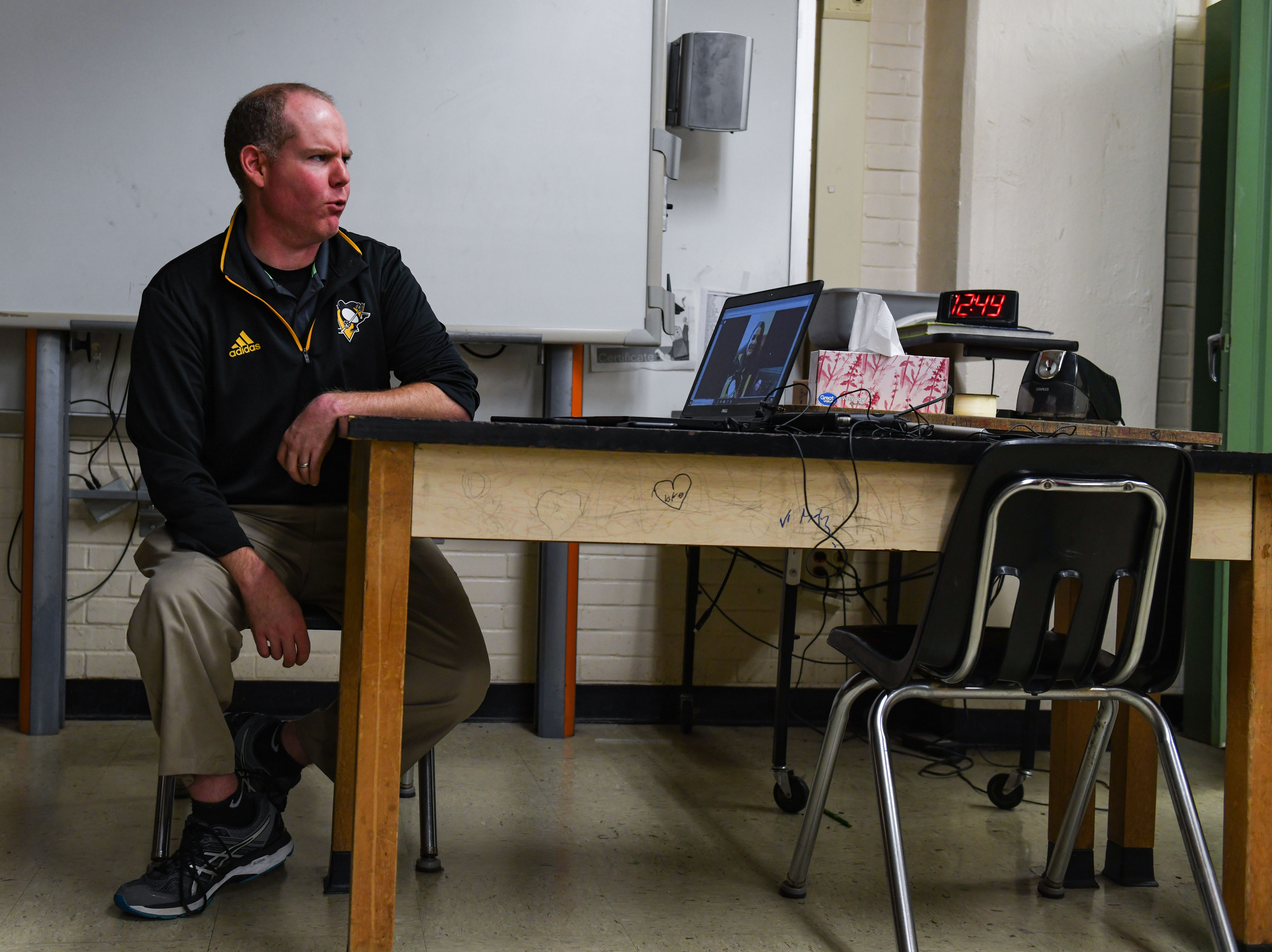 Wicomico Middle School teacher Jeff Lynd talks Kelly Sowatsky of Lancaster, PA talks over Facebook video messenger on Tuesday, Nov 27, 2018. Lynd donated a kidney to the fellow Pittsburgh Penguins fan less than a month ago.