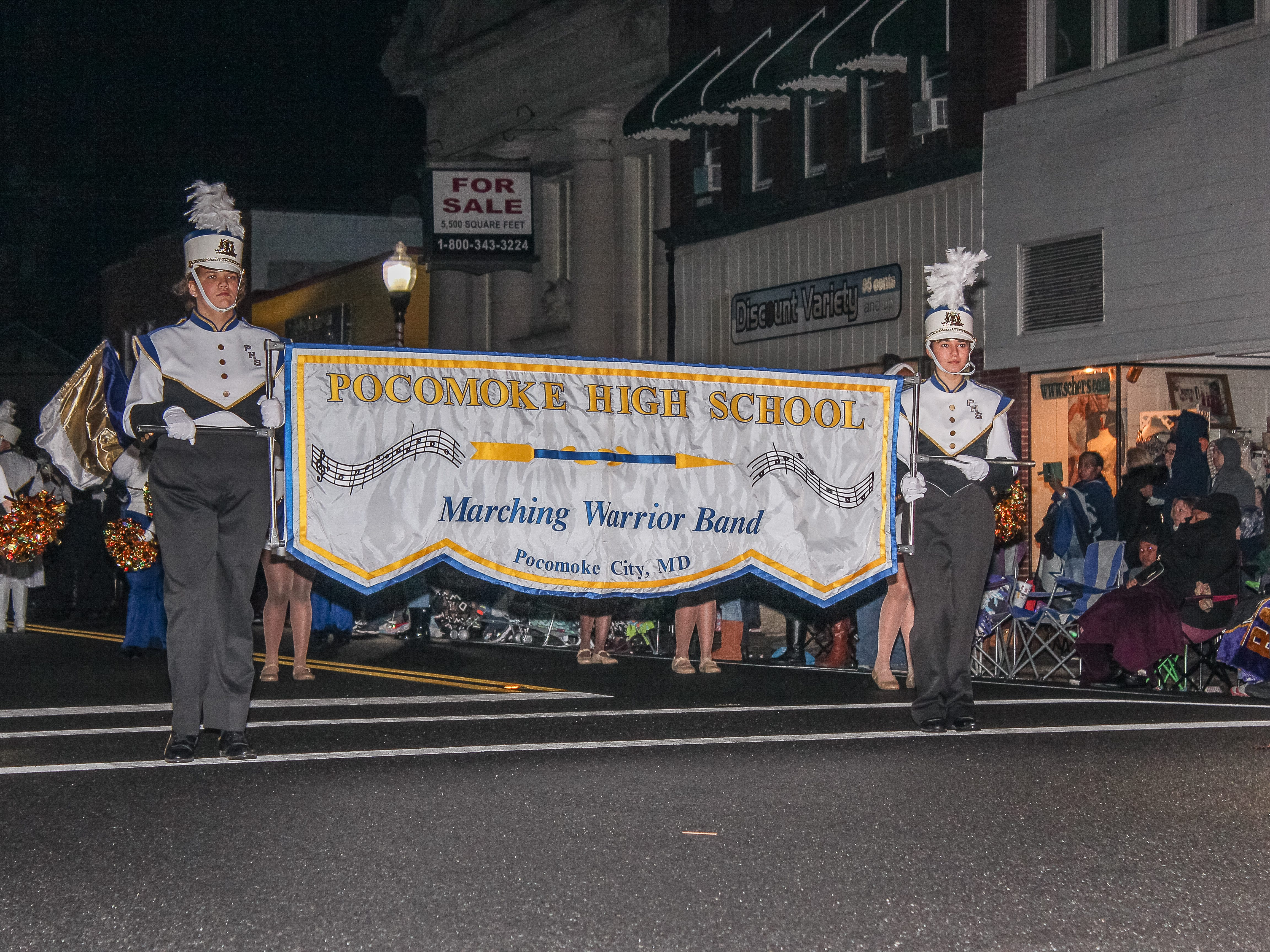 Pocomoke High School marching band takes part in the Christmas parade on Nov. 26.