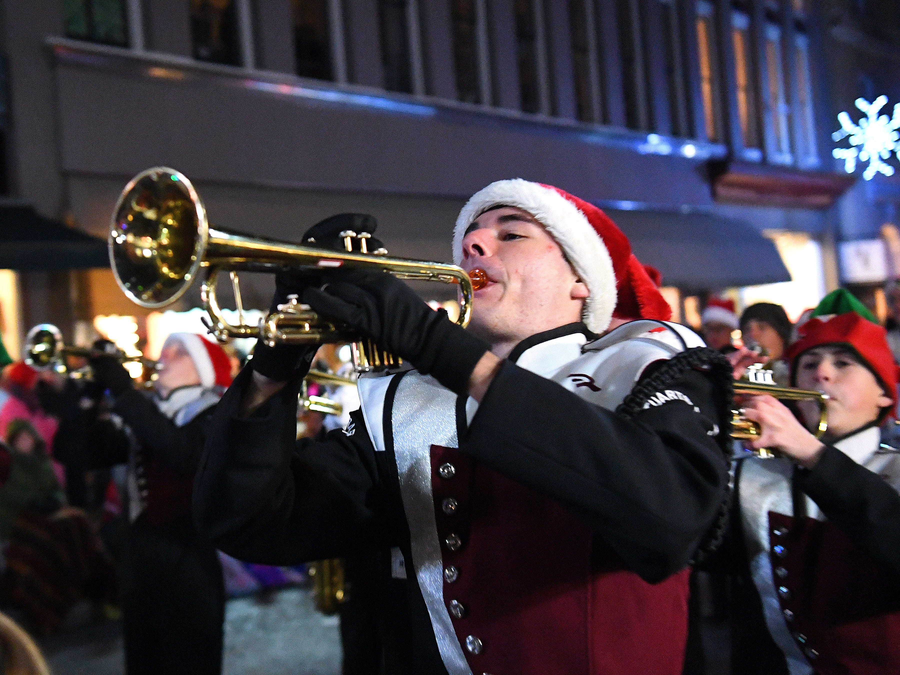 The Stuarts Draft High School marching band performs during the Staunton Christmas Parade on Monday, Nov. 26, 2018.