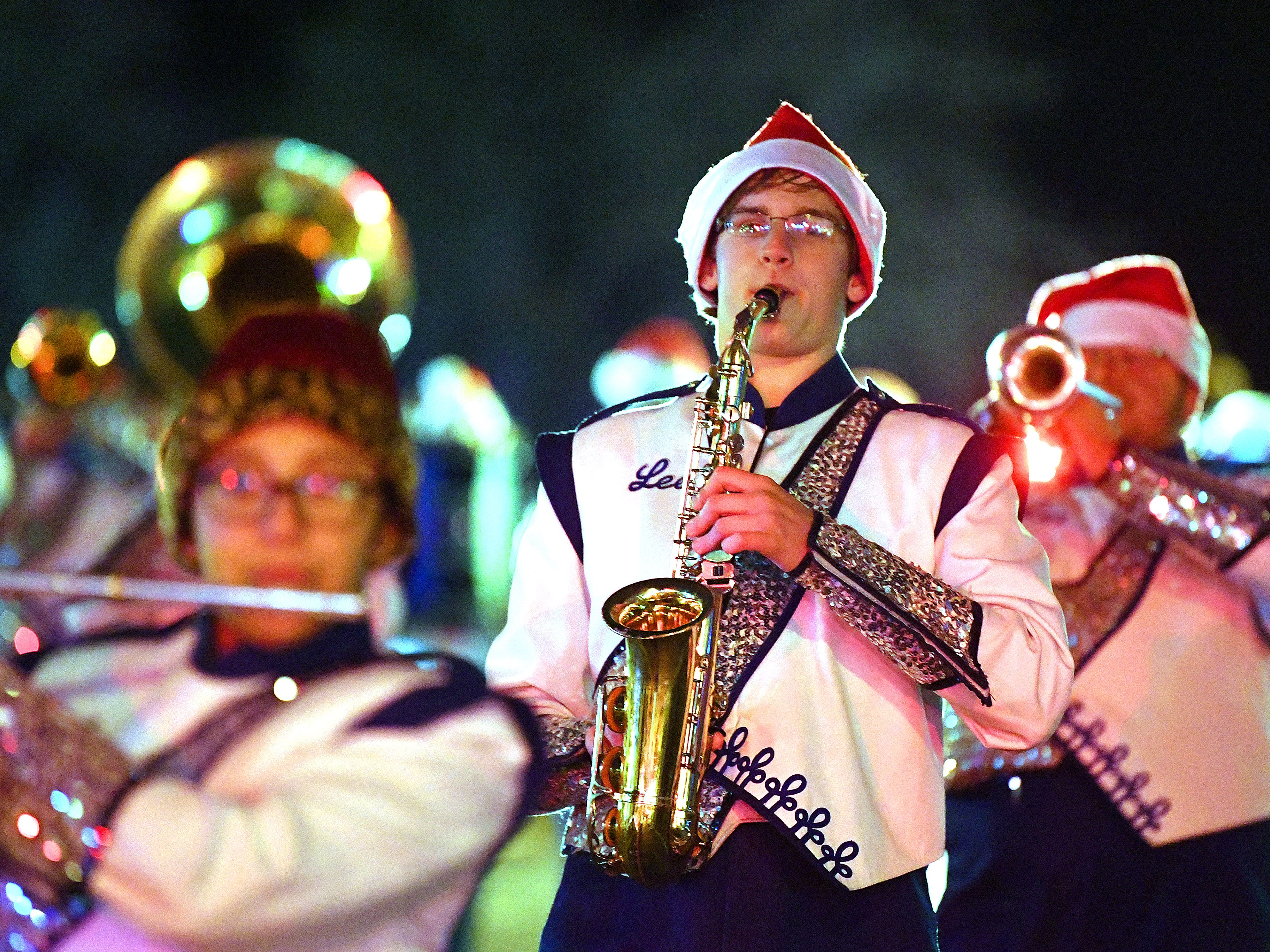 The Robert E. Lee High School marching band performs during the Staunton Christmas Parade on Monday, Nov. 26, 2018.