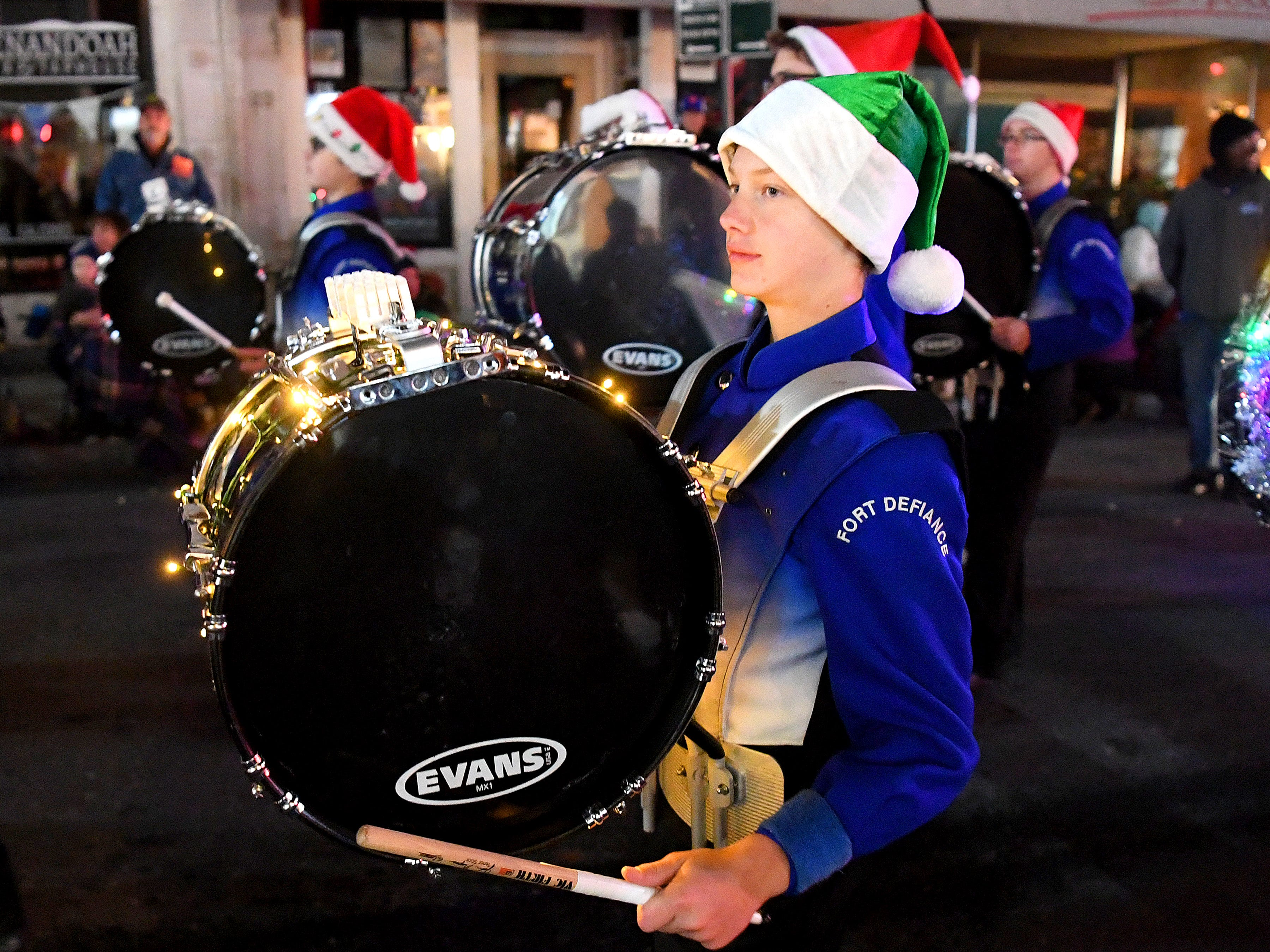 The Fort Defiance High School marching band performs during the Staunton Christmas Parade on Monday, Nov. 26, 2018.