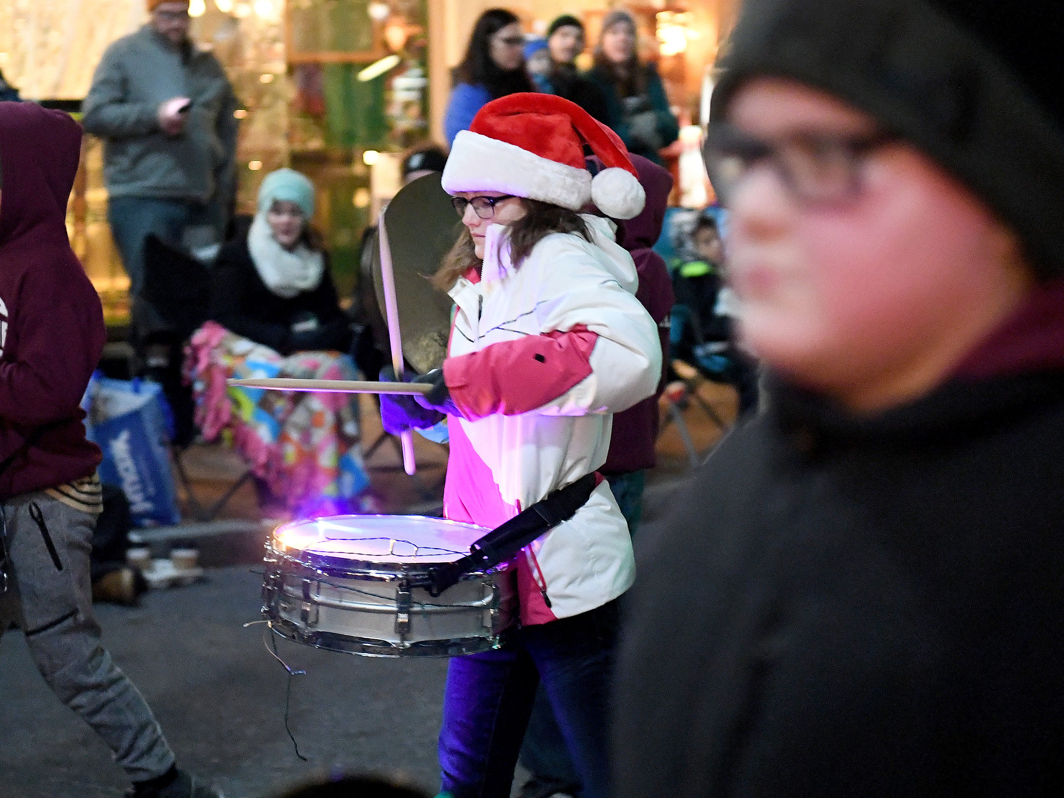 The Shelburne Middle School marching band performs during the Staunton Christmas Parade on Monday, Nov. 26, 2018.