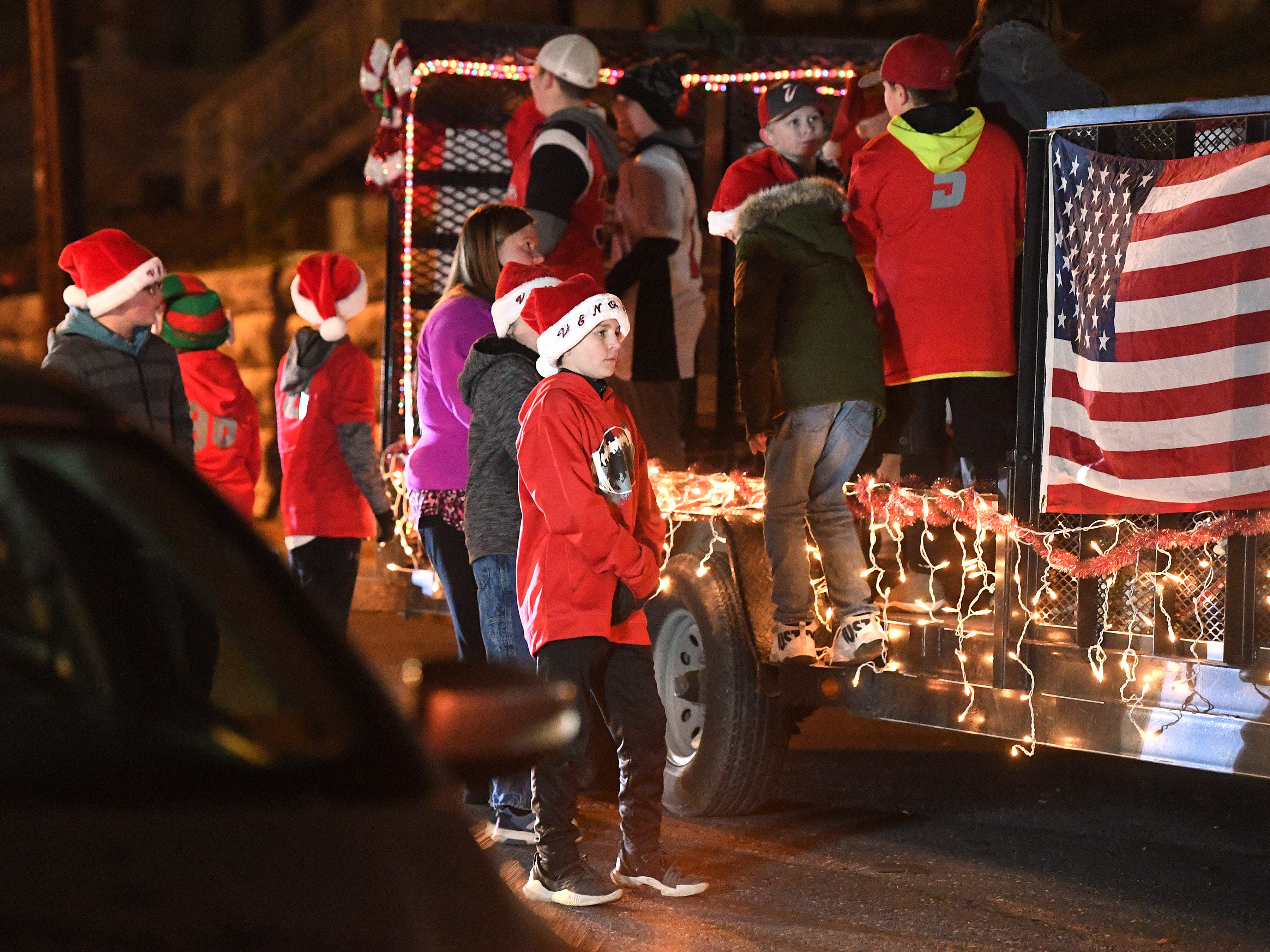 Parade participants wait for the Staunton Christmas Parade to begin on Monday, Nov. 26, 2018.