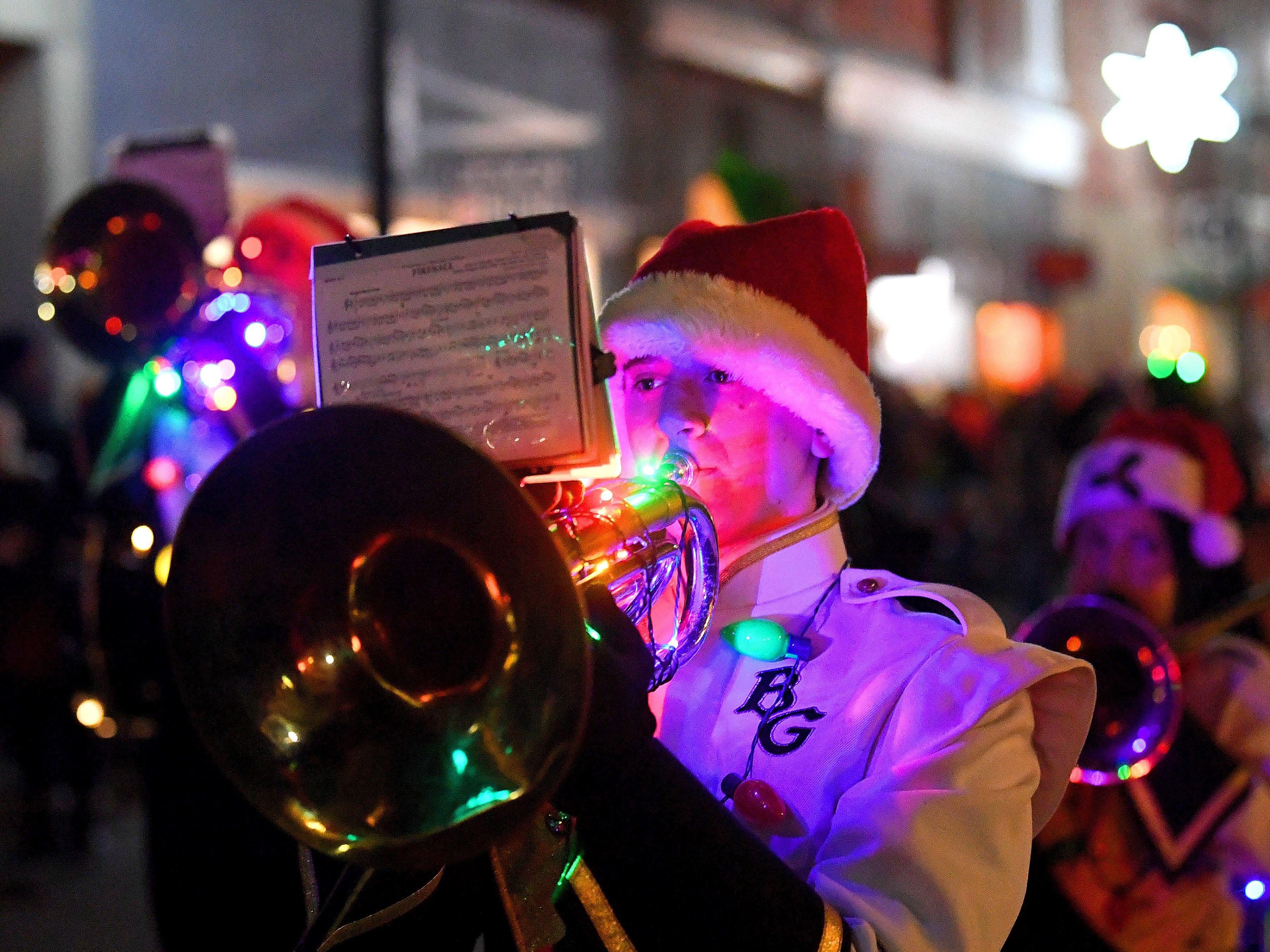The Buffalo Gap High School marching band performs during the Staunton Christmas Parade on Monday, Nov. 26, 2018.