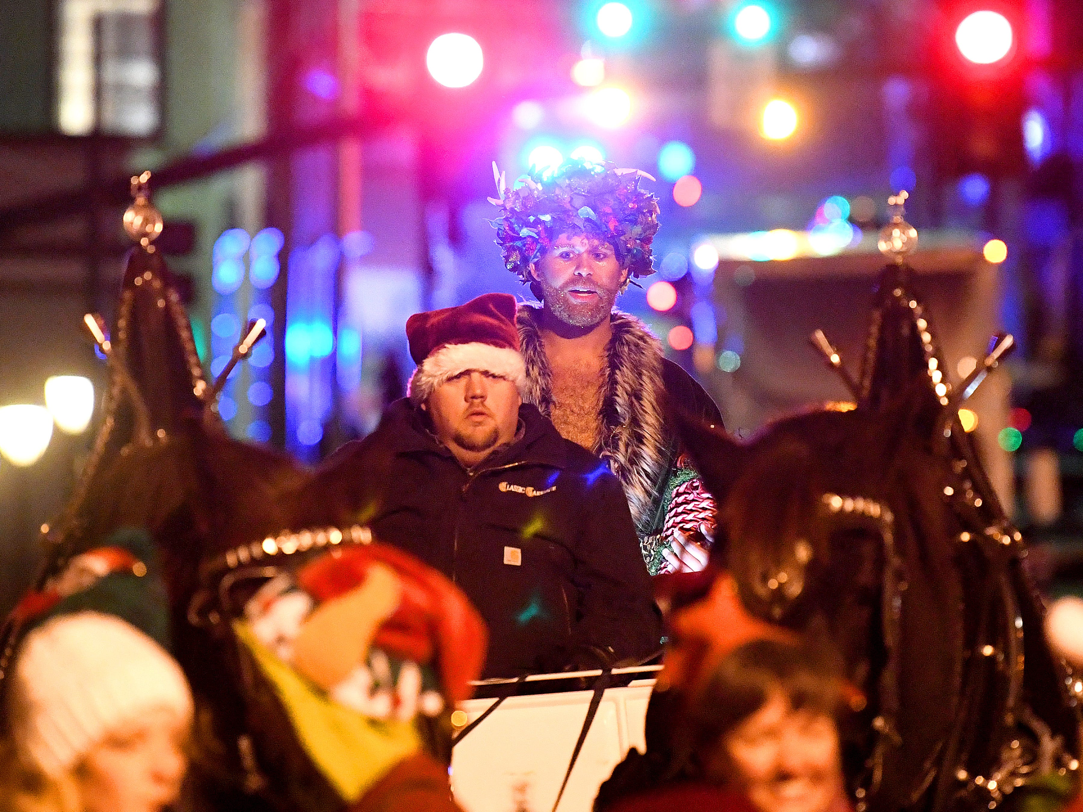 """The """"Ghost of Christmas Past"""" serves as parade marshal in the Staunton Christmas Parade on Monday, Nov. 26, 2018."""