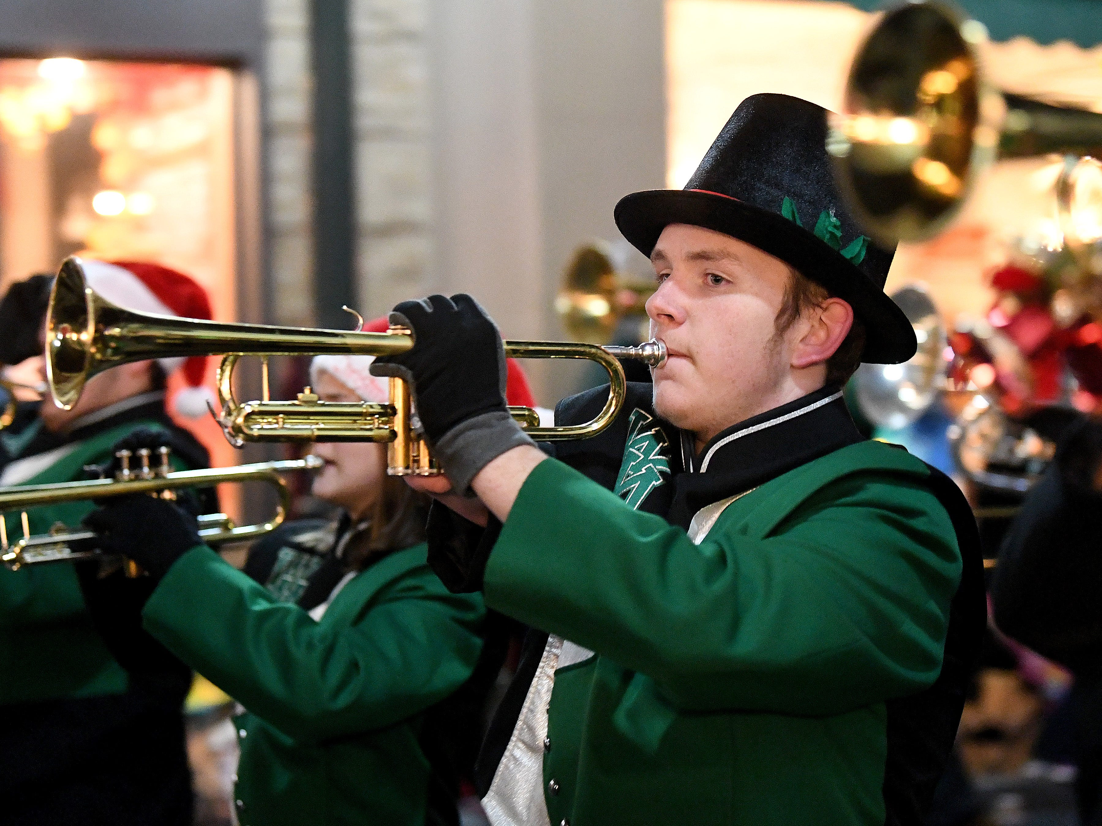 The Wilson Memorial High School marching band performs during the Staunton Christmas Parade on Monday, Nov. 26, 2018.