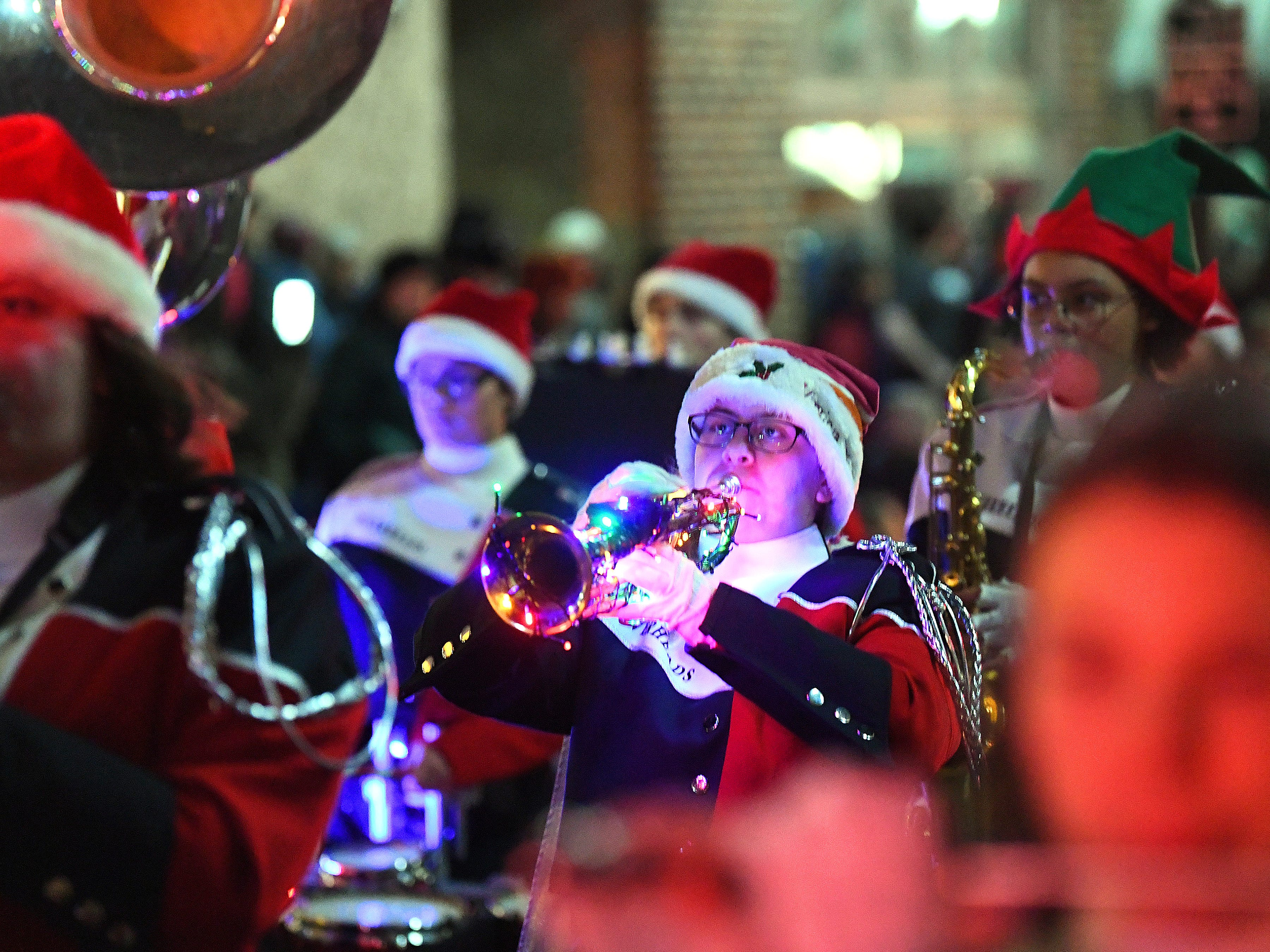 The Riverheads High School marching band performs during the Staunton Christmas Parade on Monday, Nov. 26, 2018.